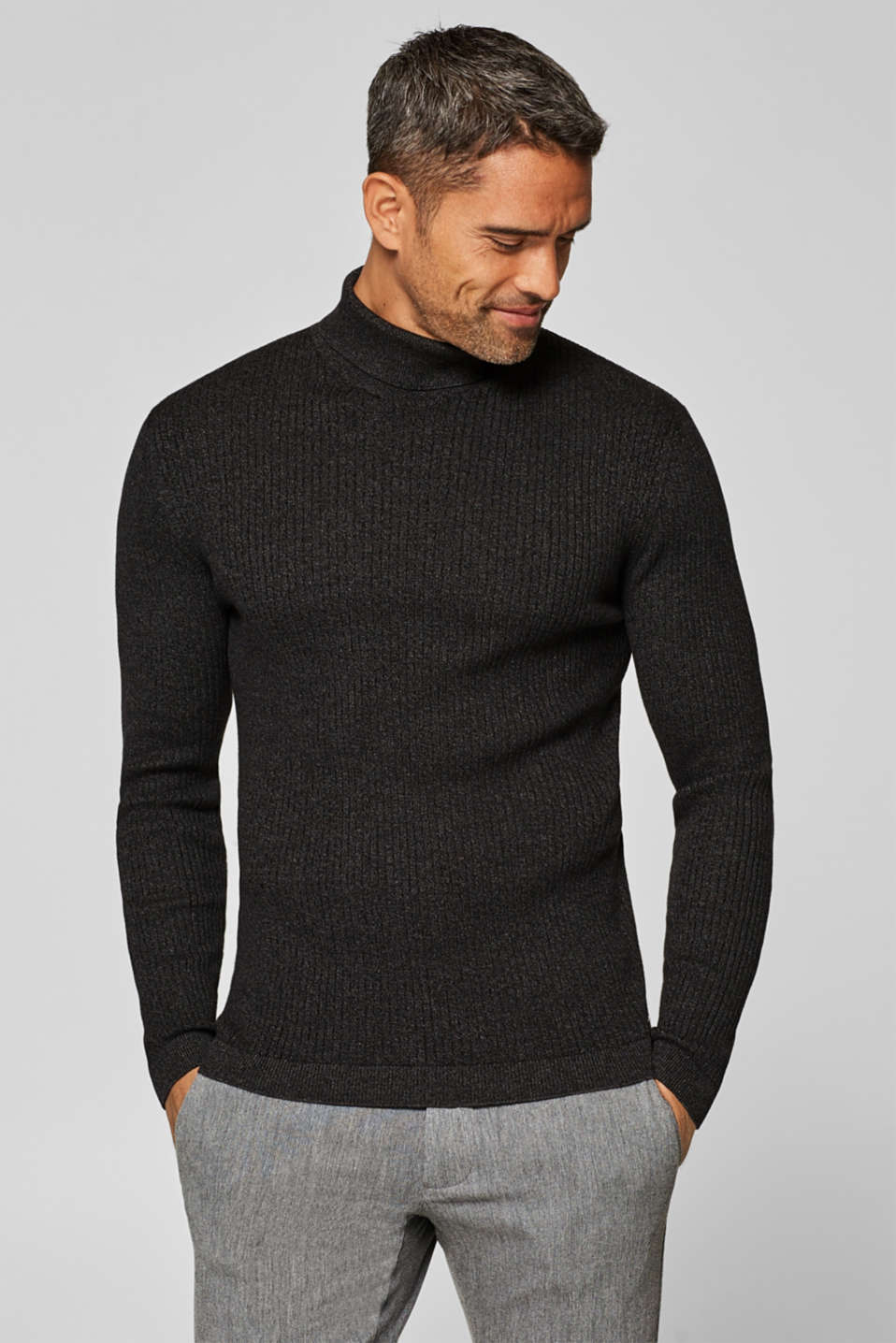 edc - Muscle-fit jumper with a polo neck, 100% cotton