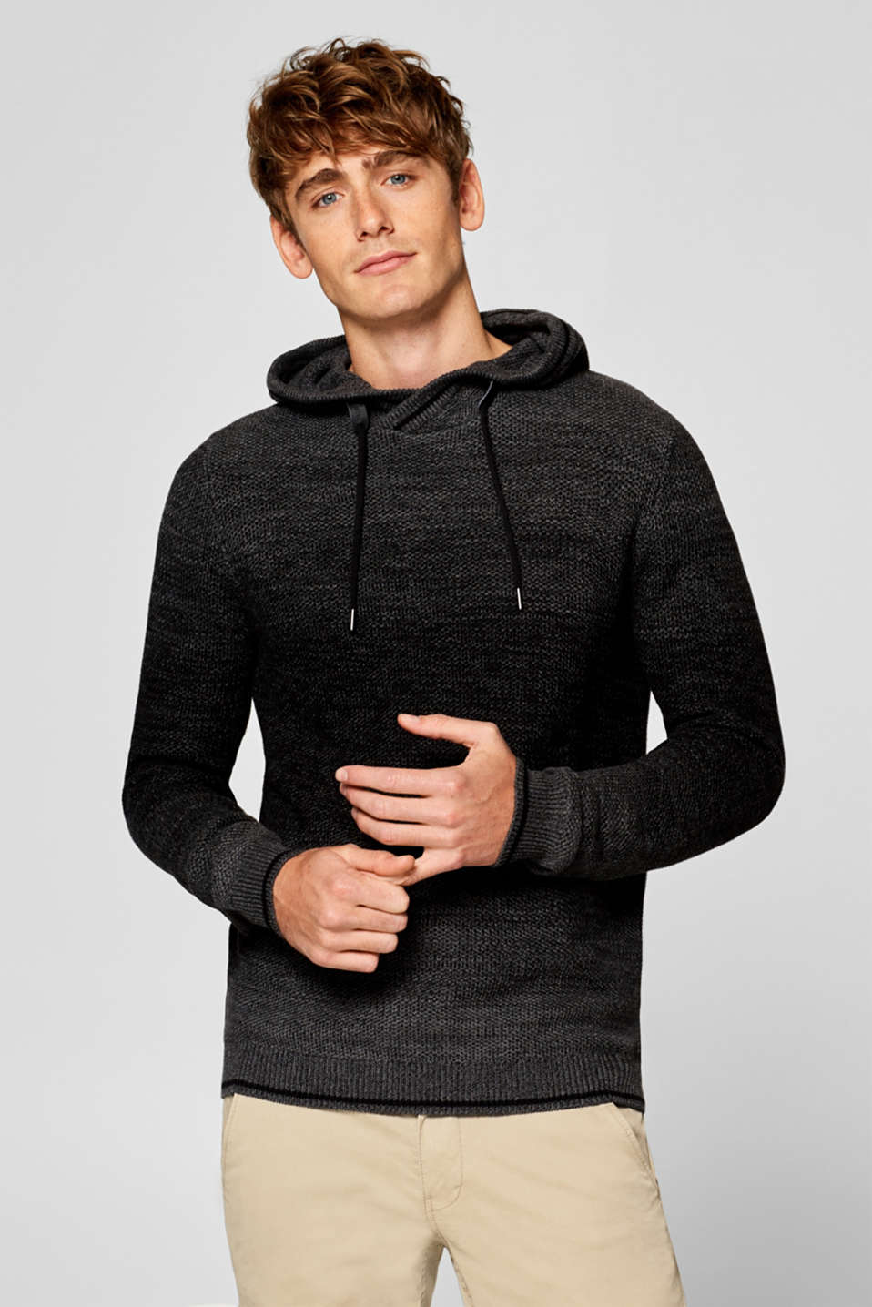 edc - Textured knit hoodie in 100% cotton
