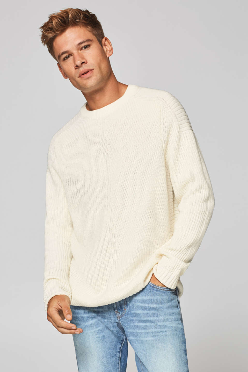 edc - Wool blend: jumper knit in rib stitch