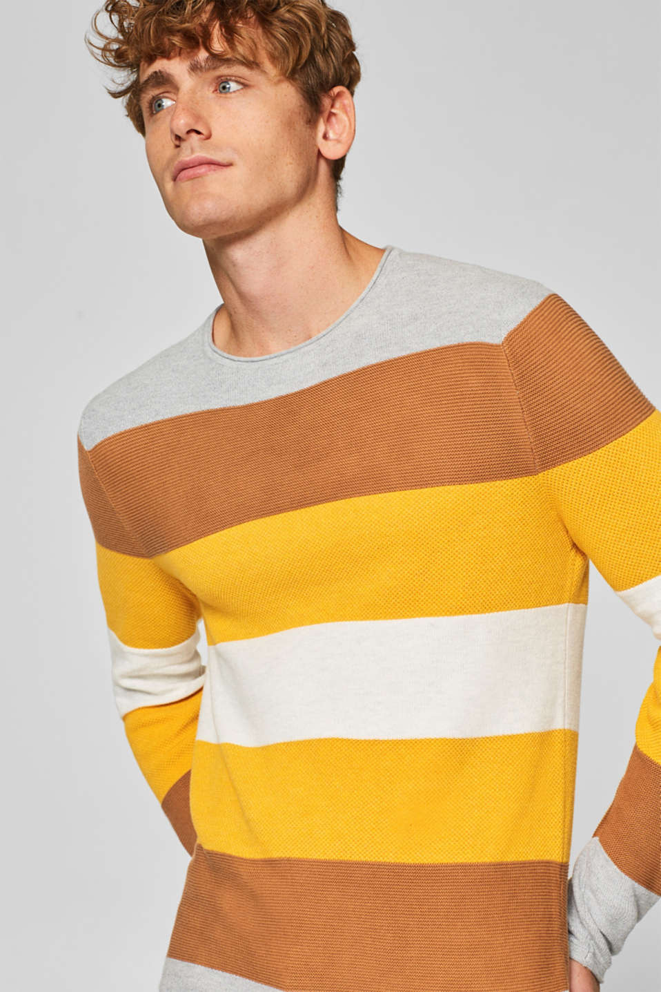 edc - Jumper with stripes, 100% cotton