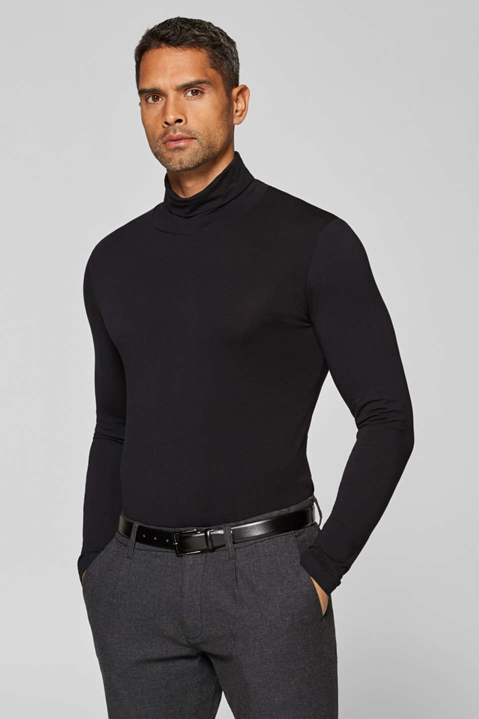 edc - Long sleeve top made of stretch cotton-jersey