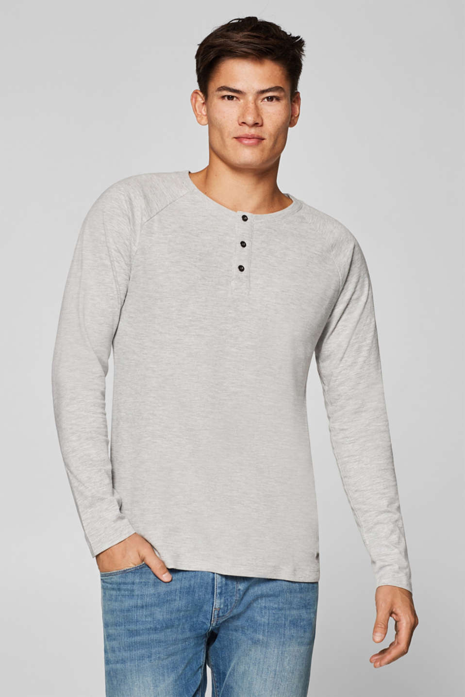 edc - Ribbed Henley top in blended cotton