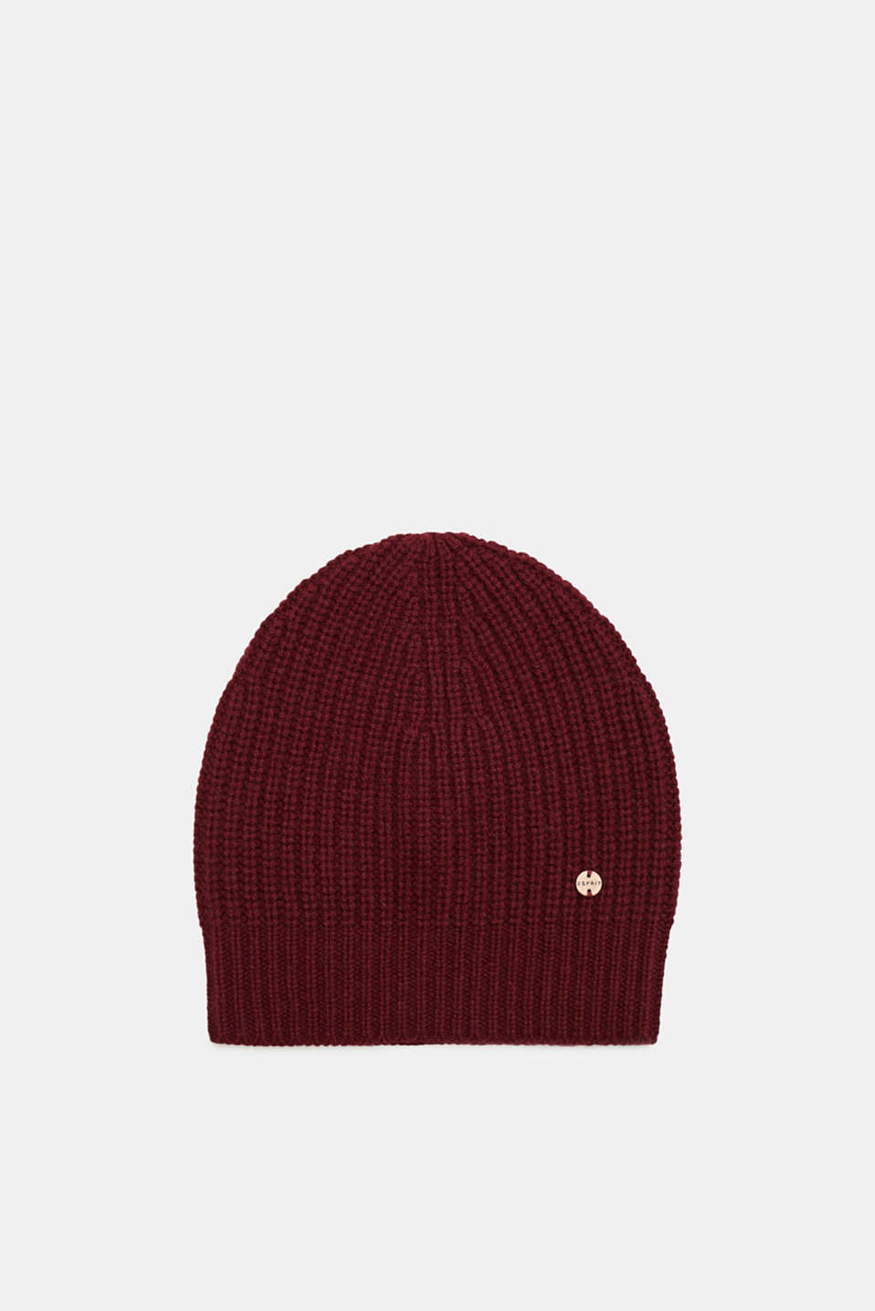 Esprit - Containing cashmere: wool hat with a ribbed pattern