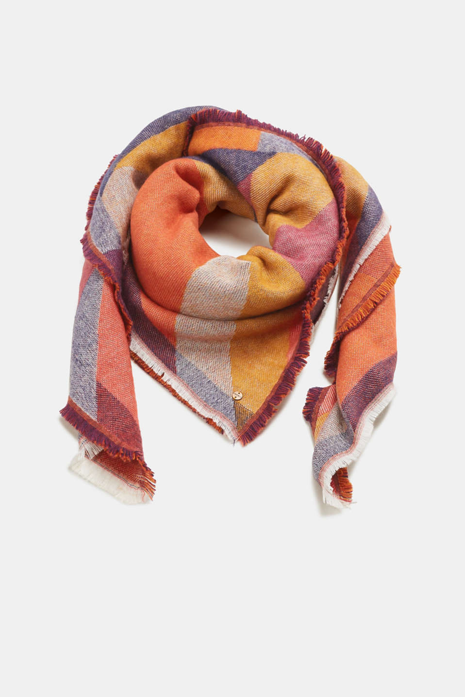 Esprit - XL scarf with an ikat pattern
