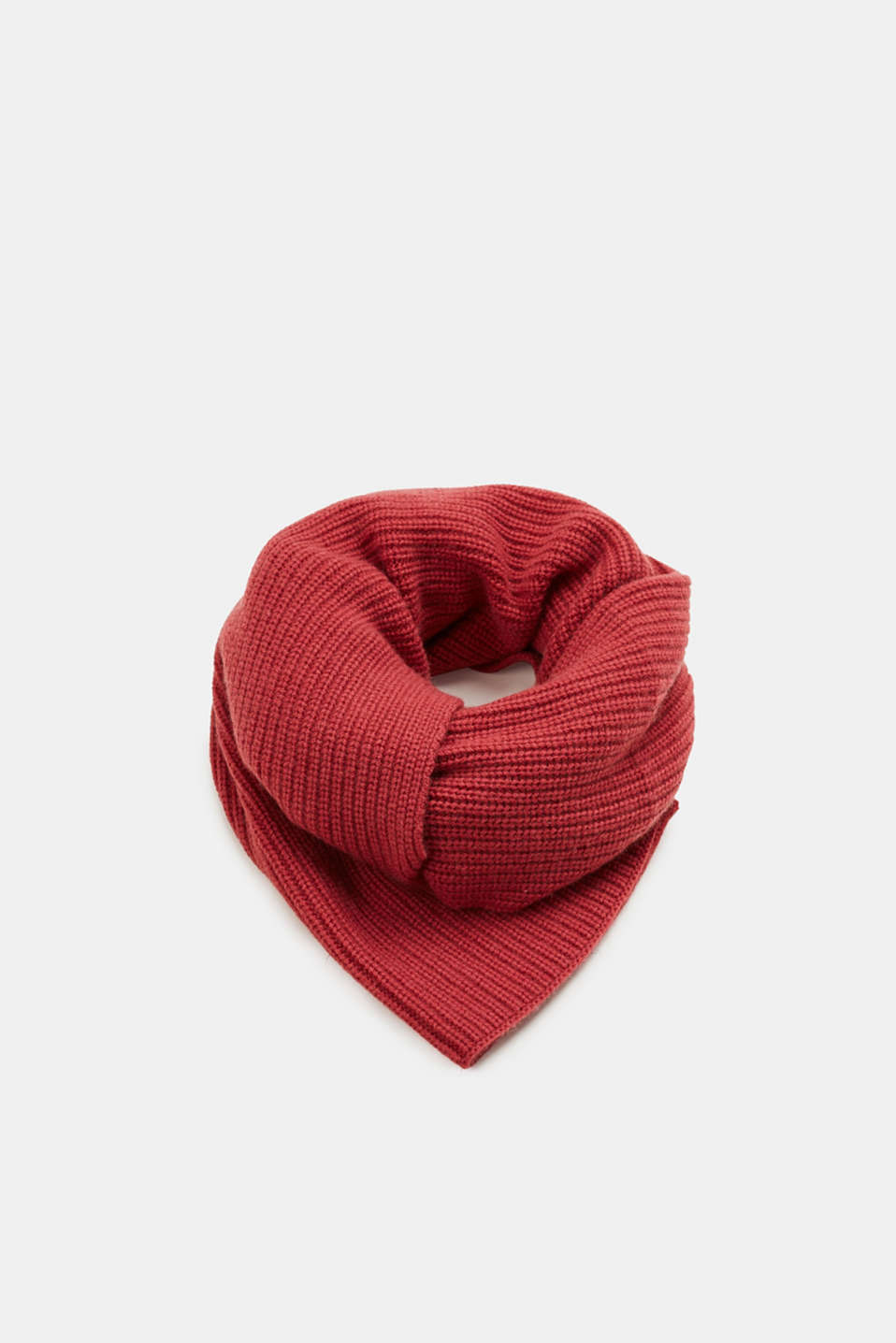 Esprit - A cashmere/wool blend: Scarf with ribbed pattern