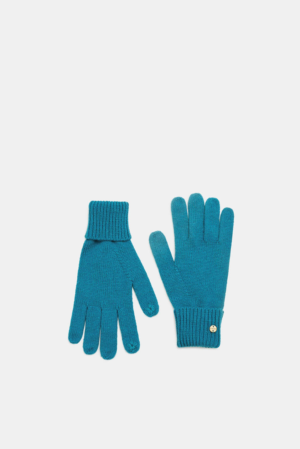 Esprit - Touchscreen gloves with ribbed cuffs