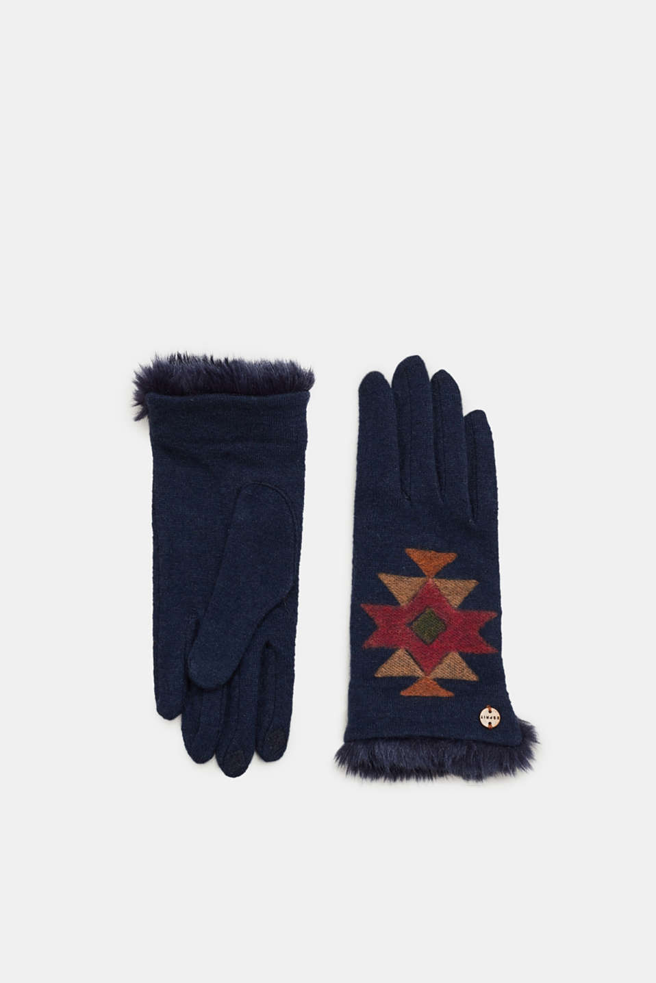 Esprit - Blended wool: gloves with an ikat pattern