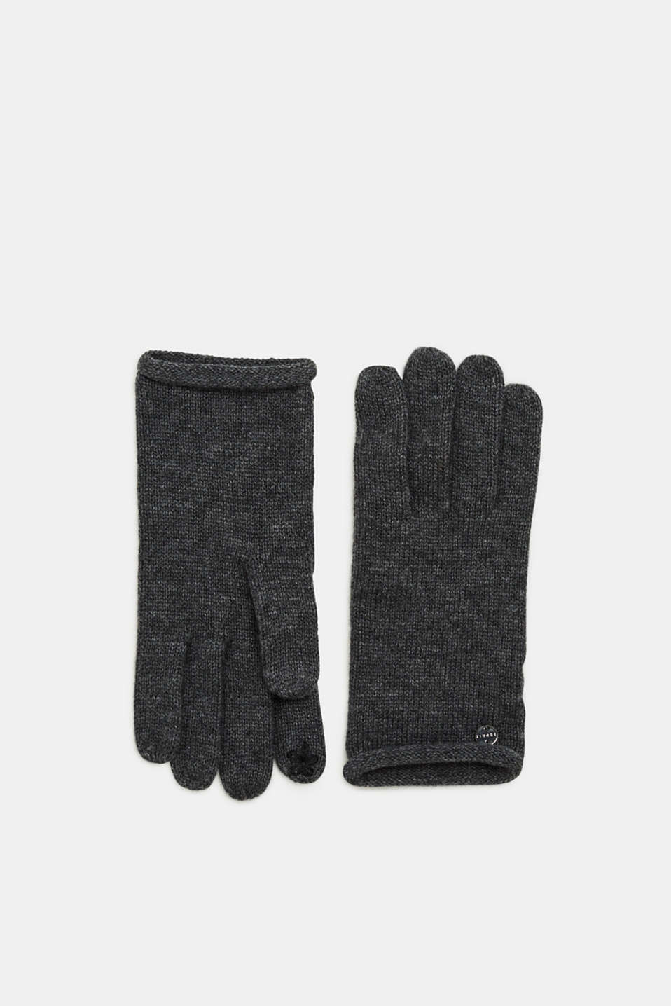 Esprit - In a cashmere/wool blend: gloves with rolled edges