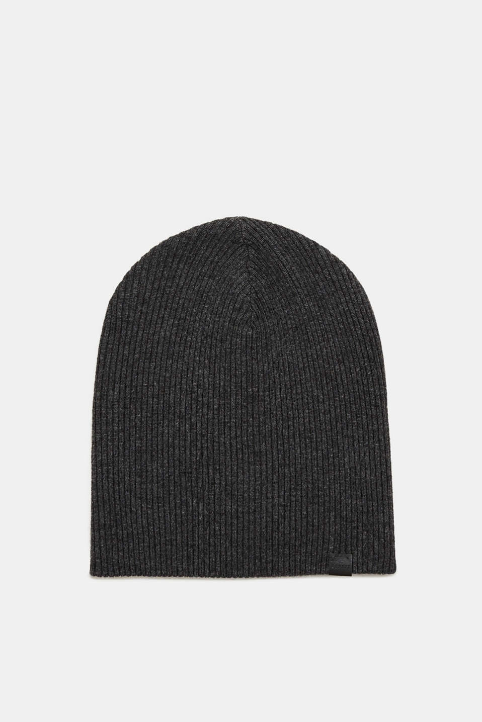 Esprit - Hat with a ribbed texture in a wool/cashmere blend