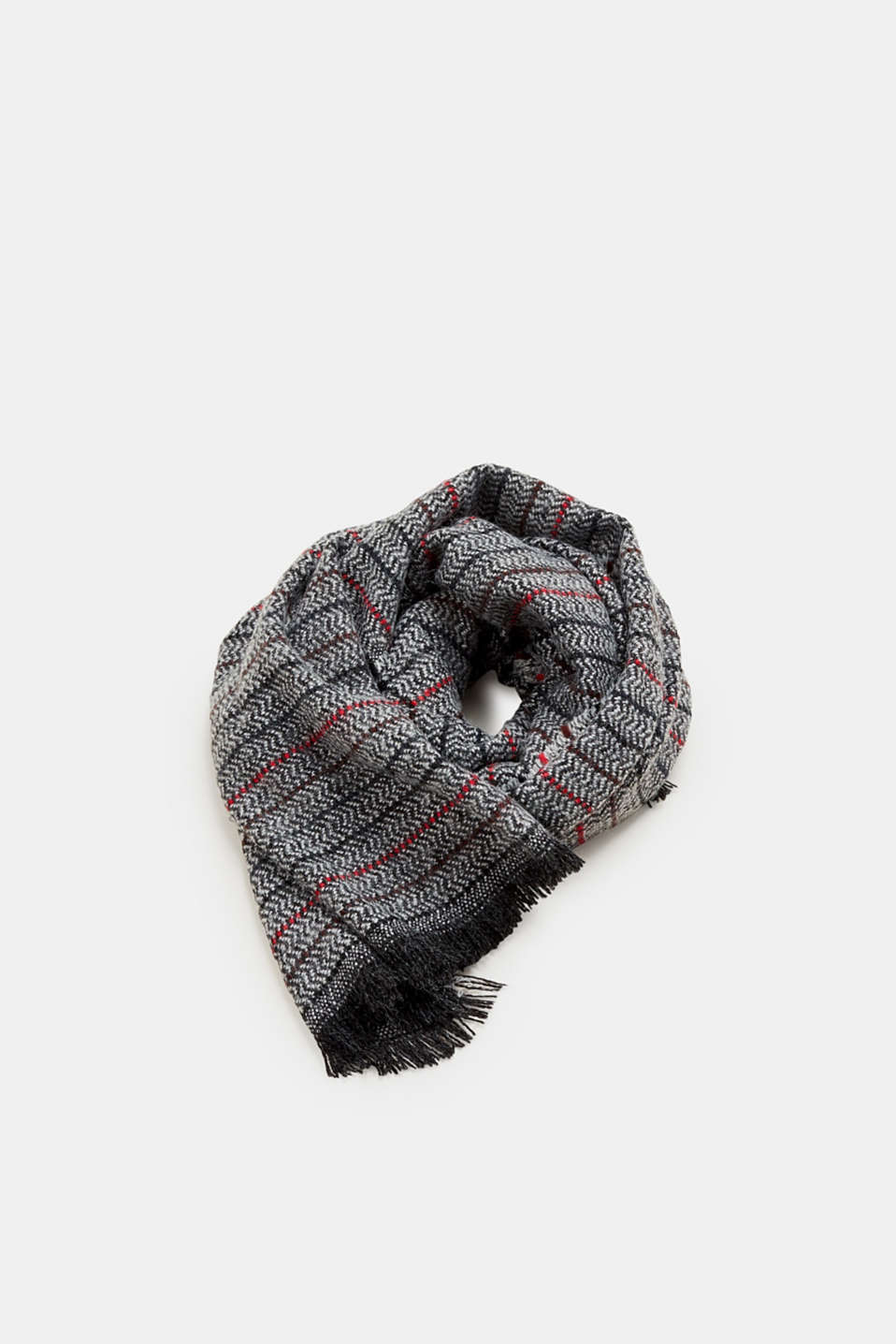 Esprit - Scarf with a woven pattern and stripes