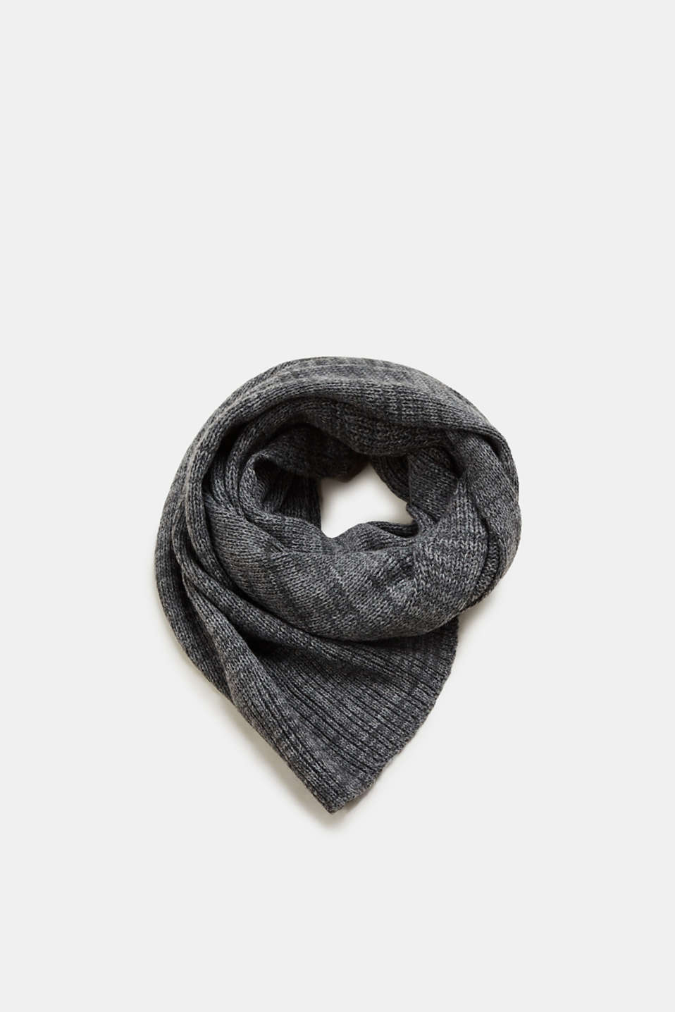 Esprit - With wool: melange scarf with a ribbed texture