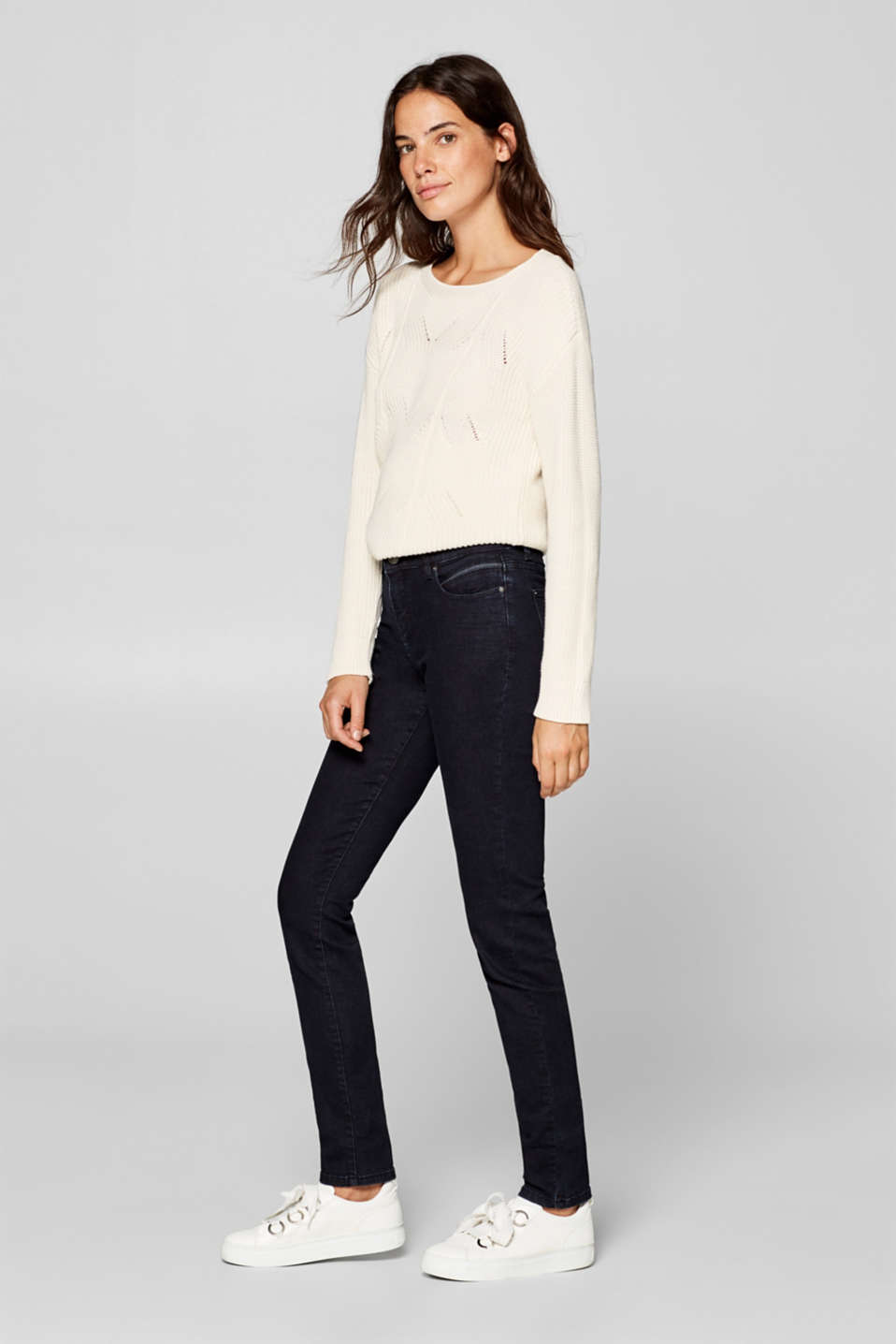 Esprit - Stretch jeans with piping and organic cotton