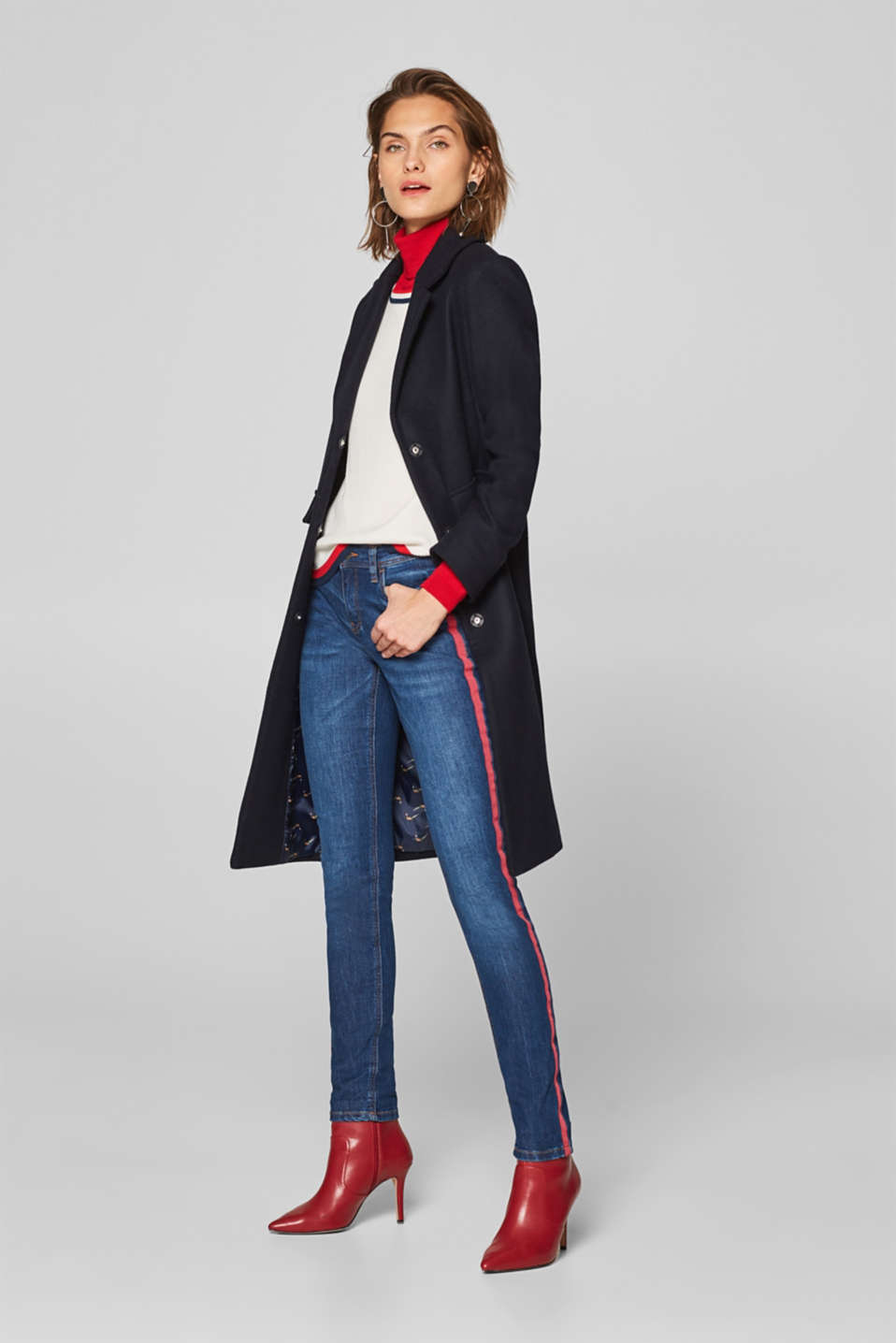 Esprit - Stretch jeans with tuxedo stripes