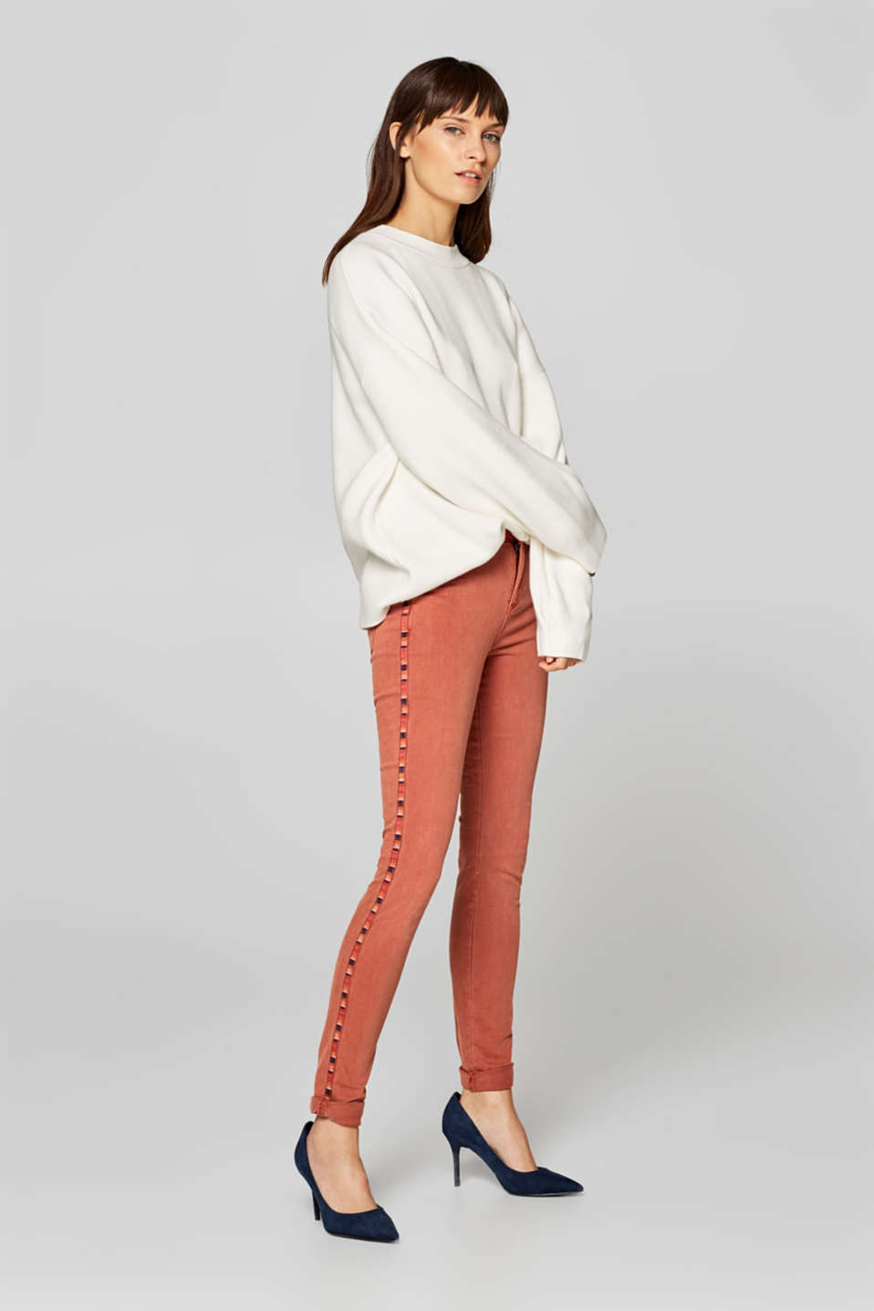 Esprit - Stretch trousers with tribal details