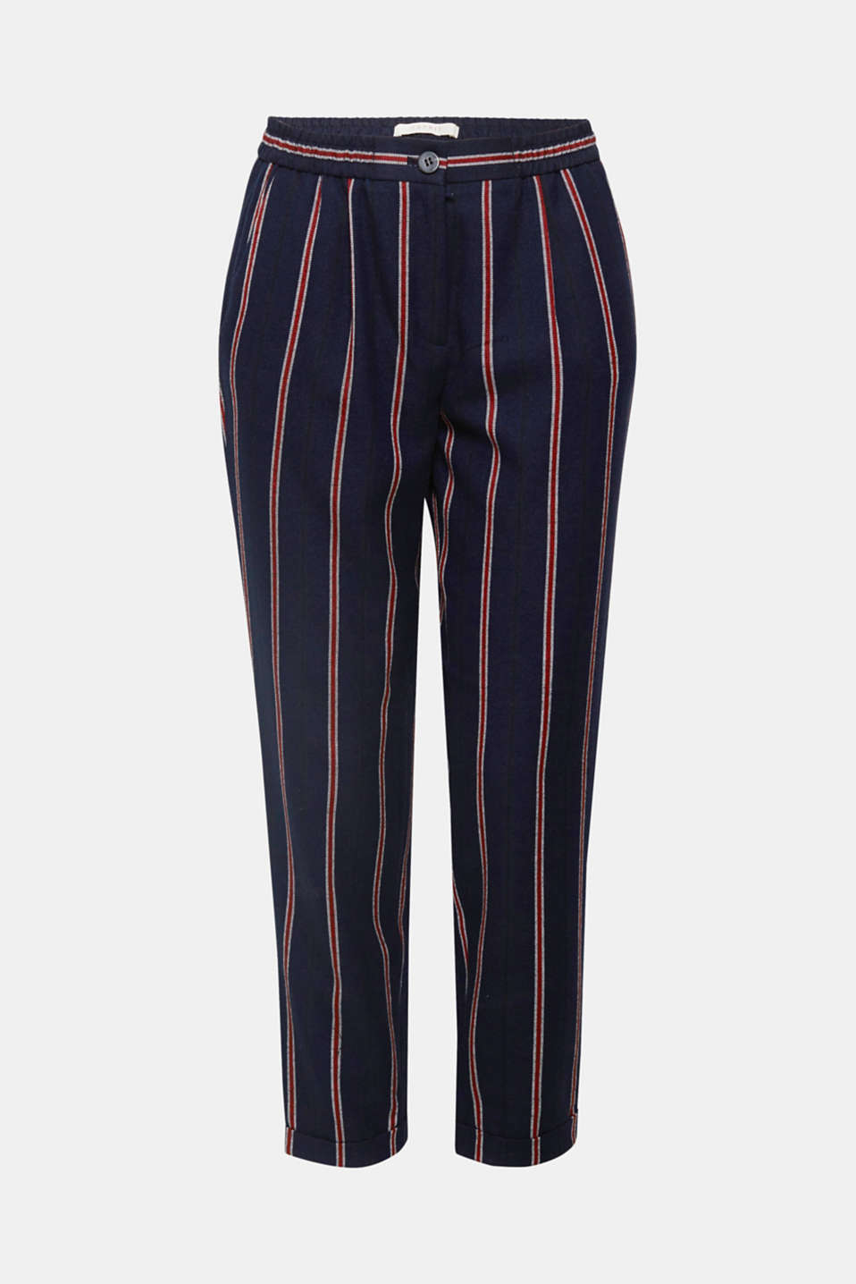 Stripes show their colours – on these soft flannel trousers in a comfortable tracksuit bottoms style with fixed turn-up hems.