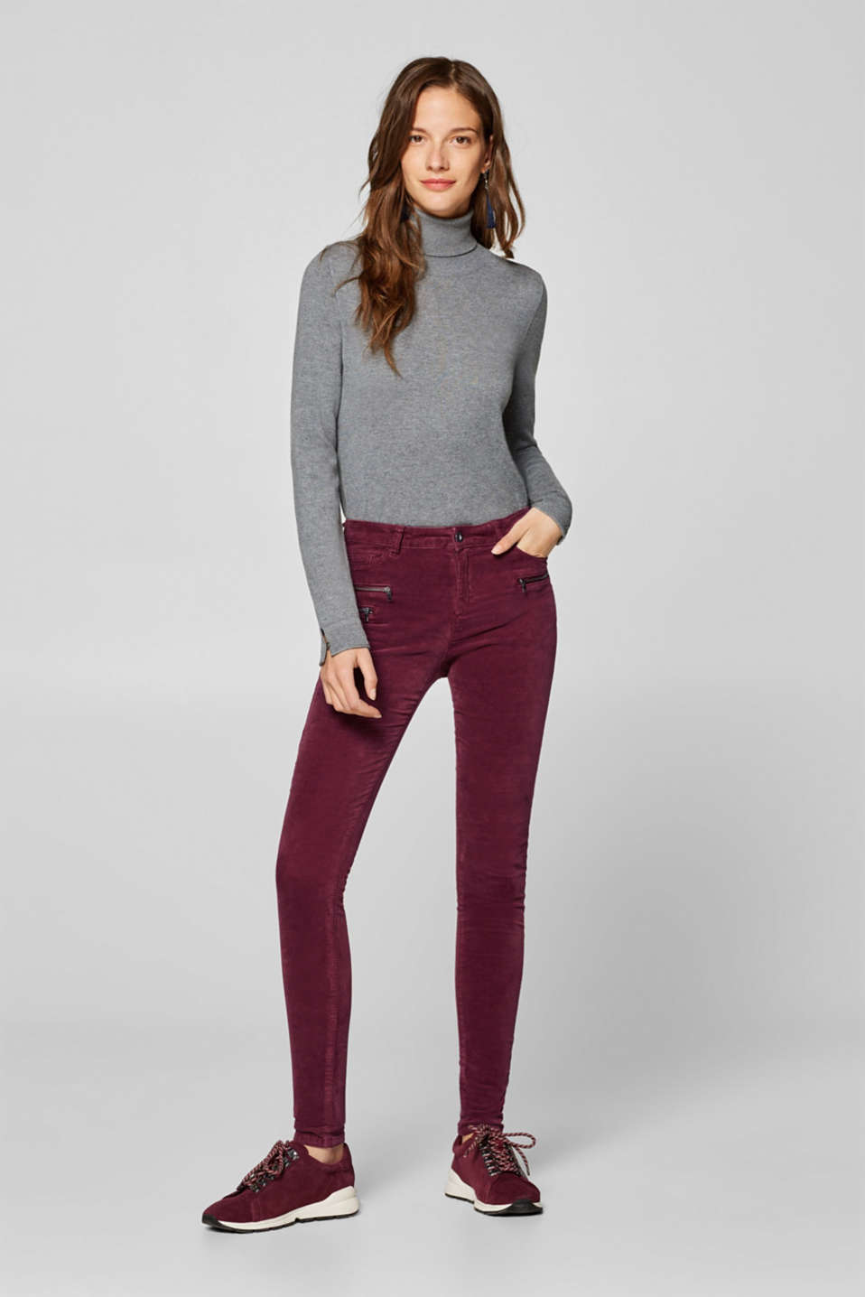 Esprit - Stretch velvet trousers with decorative zips