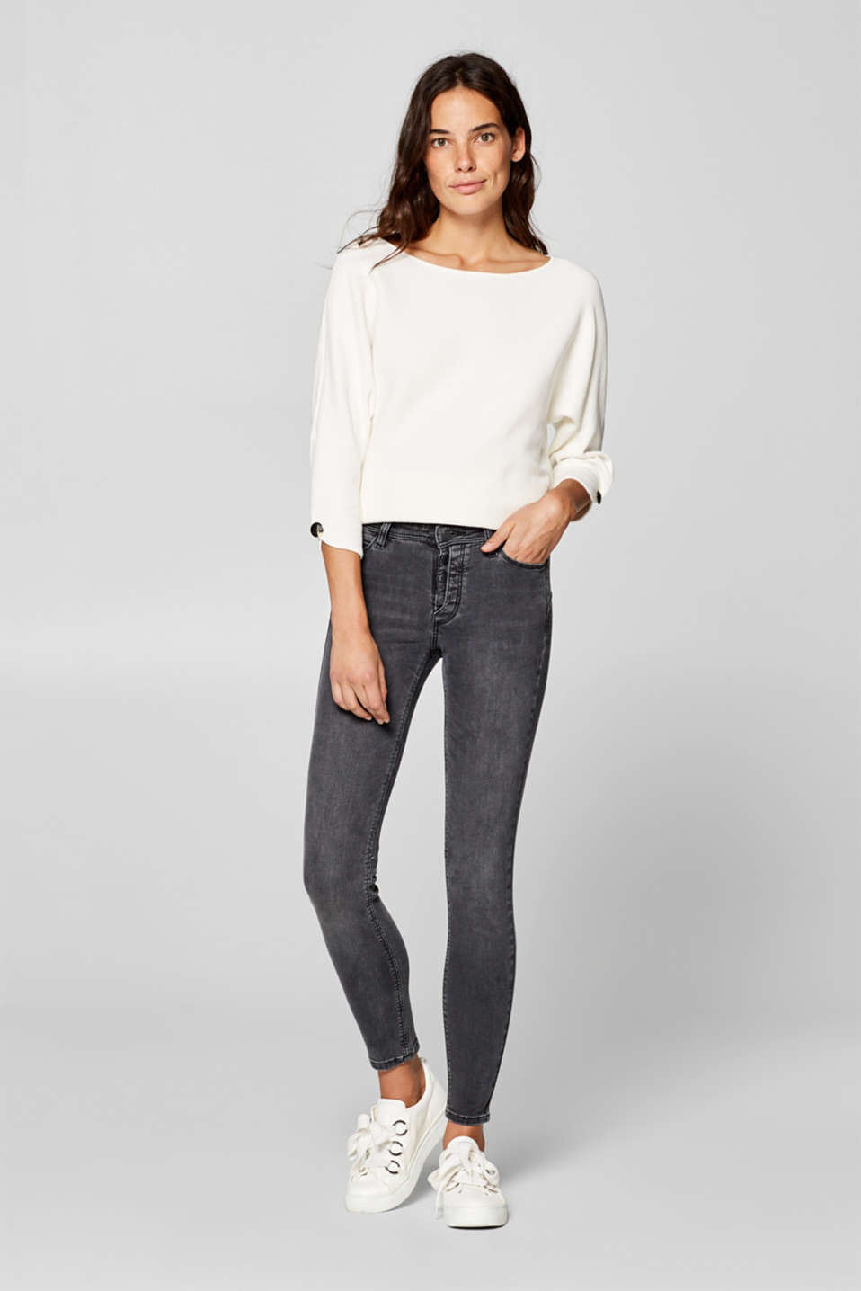 Esprit - Stretch jeans with a half concealed button placket