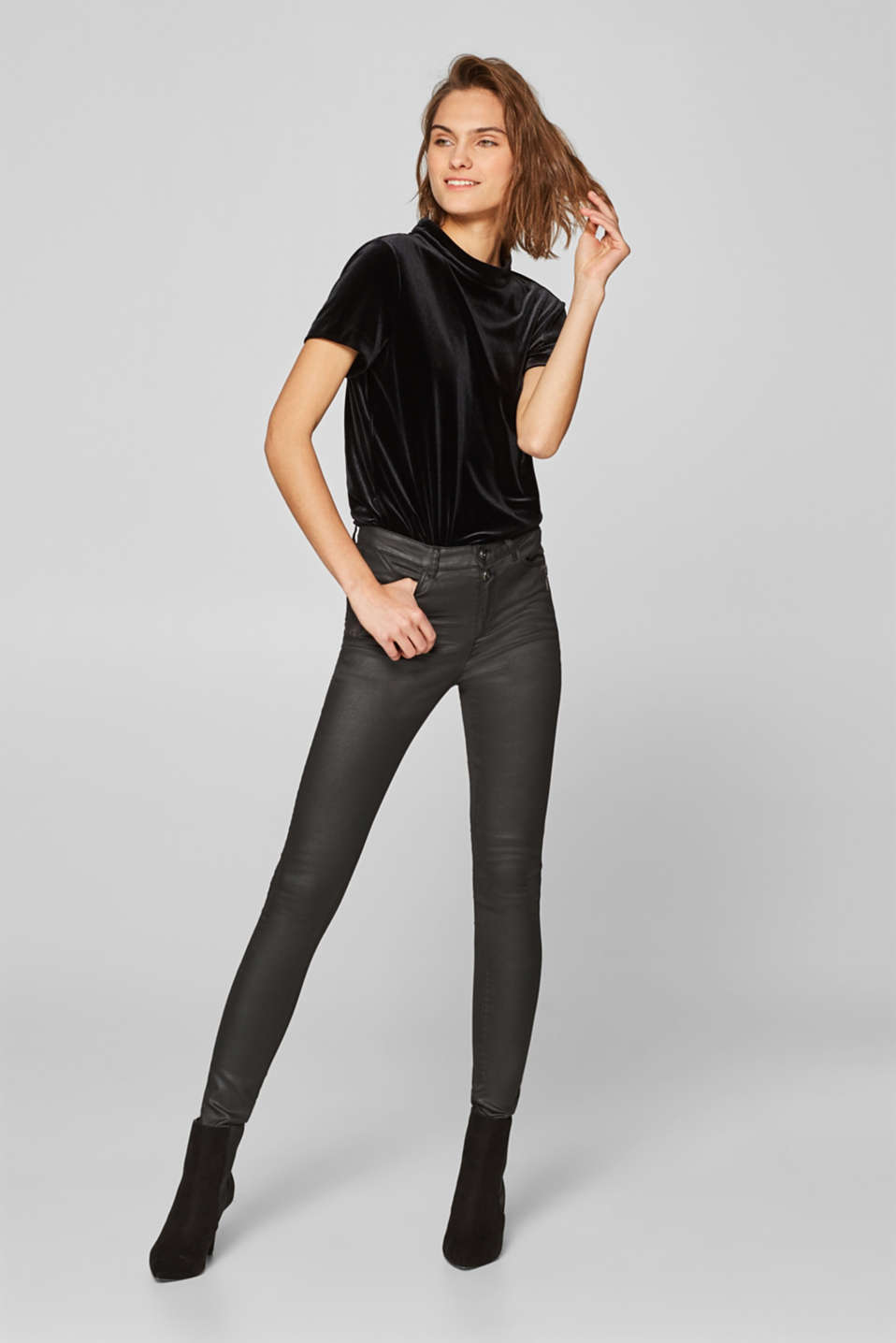 Esprit - Coated stretch trousers with decorative zips
