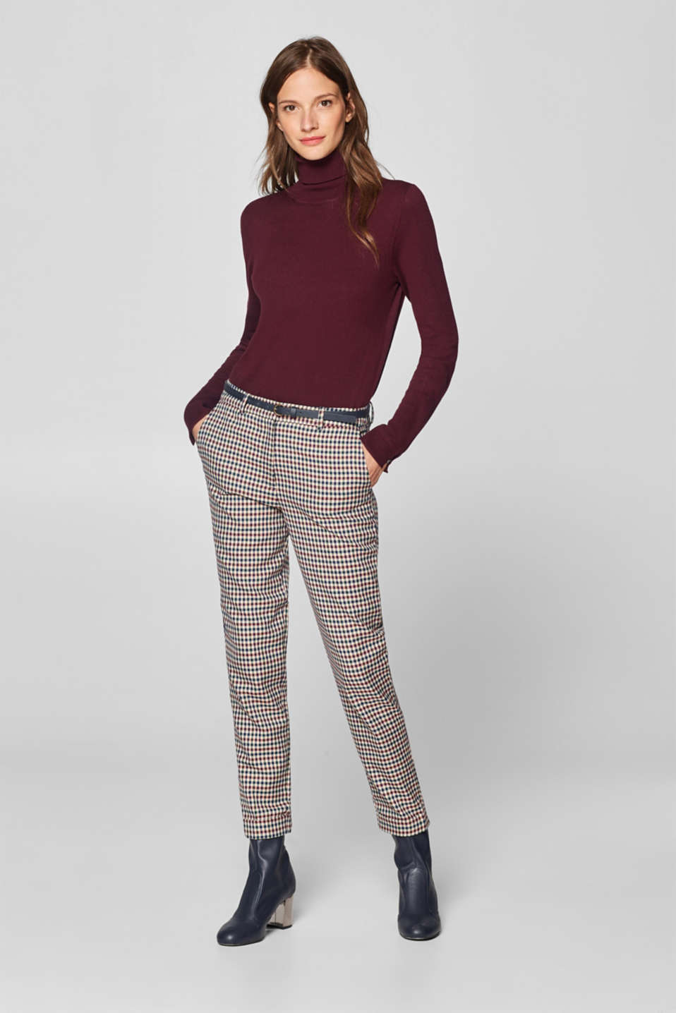 Esprit - COLOUR CHECK mix + match: trousers with belt