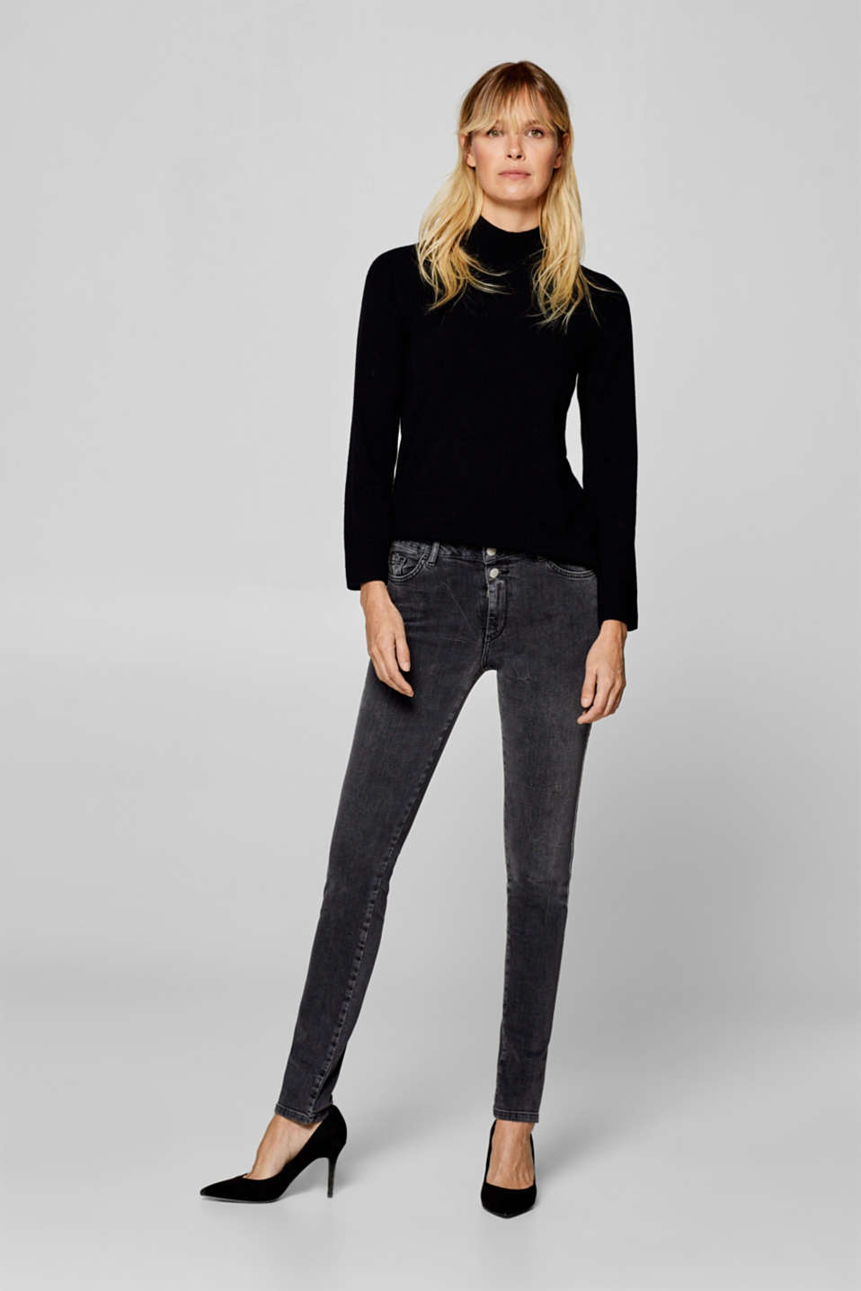 Esprit - Stretch jeans with appliquéd woven tape