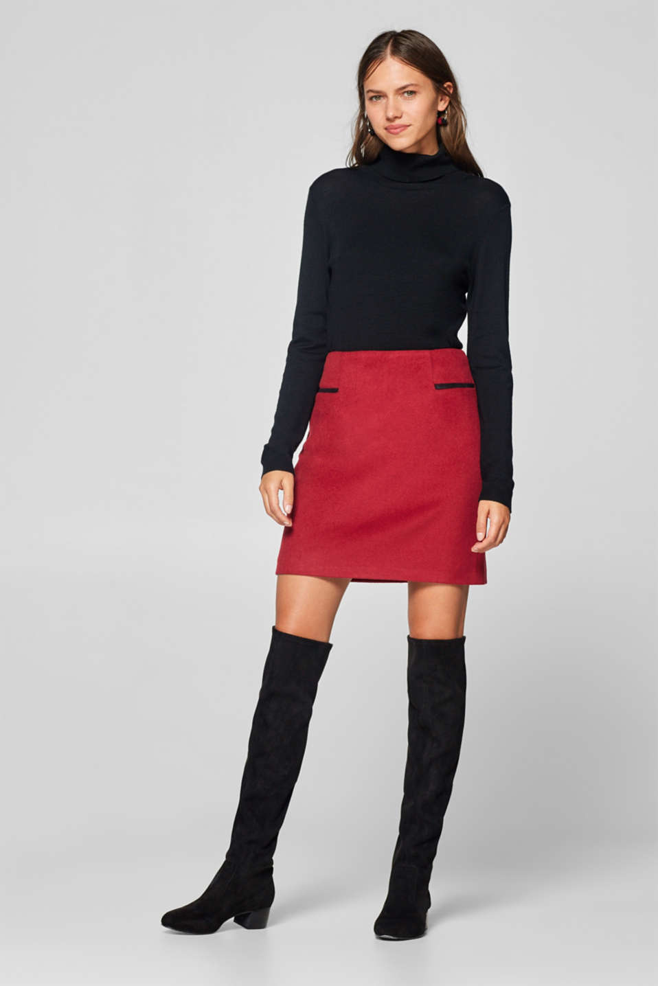 Esprit - Made of blended wool: herringbone skirt
