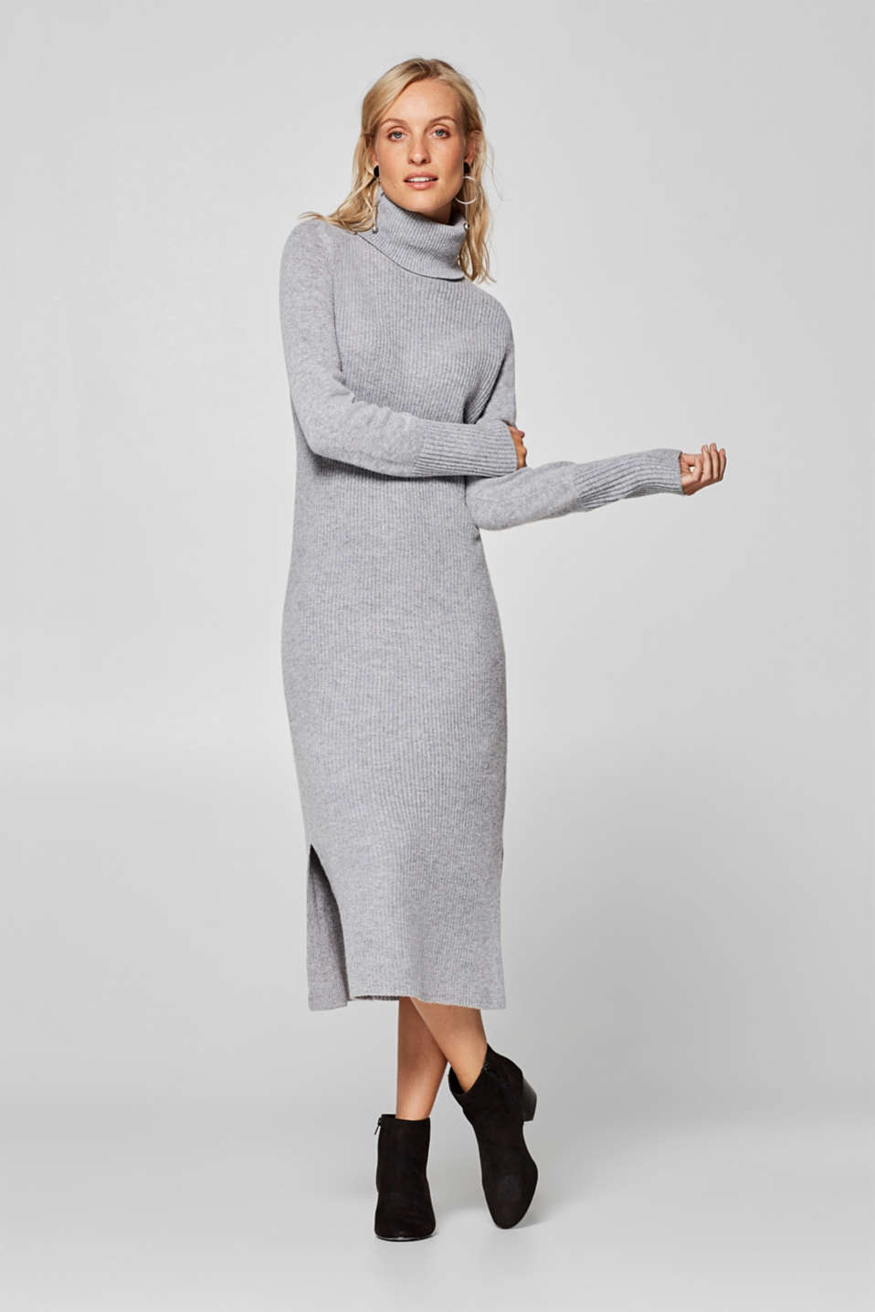 Esprit - Wool blend: midi dress with a polo neck