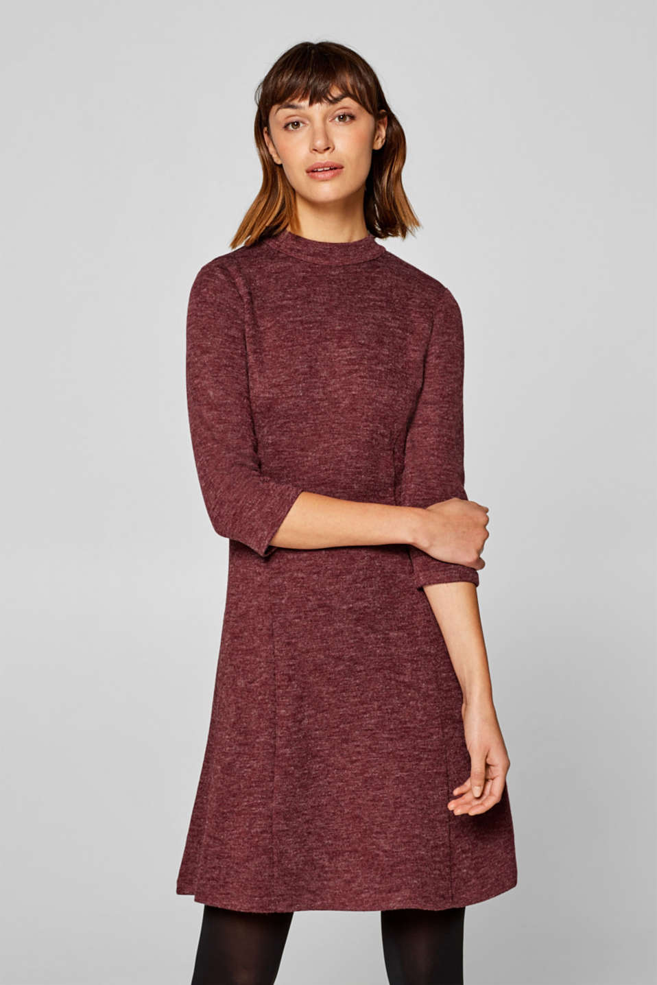 Esprit - Melange knitted dress with a zip