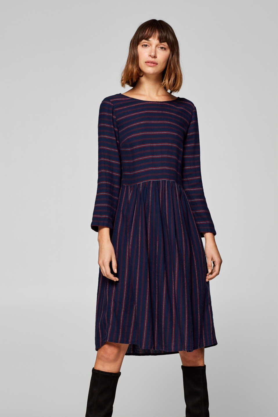 Esprit - Flannel midi dress, 100% cotton