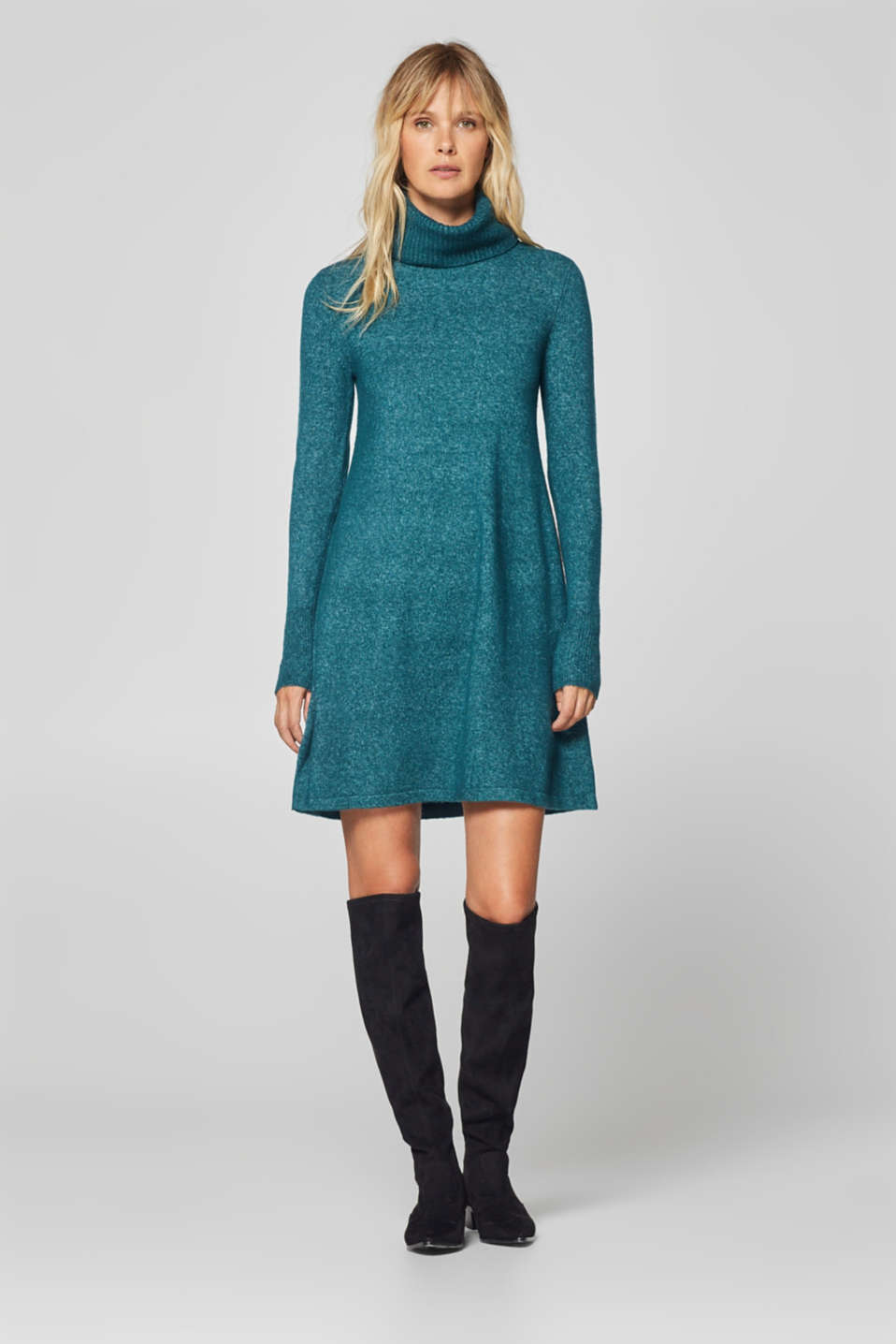Esprit - With wool: Polo neck knitted dress