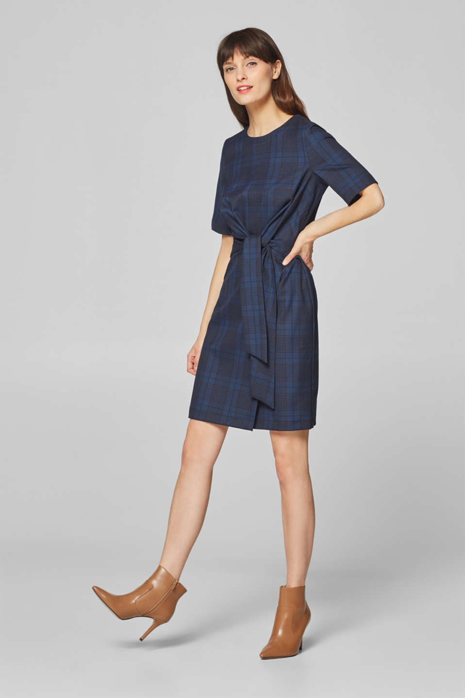 Esprit - Modern check dress with bow ribbons
