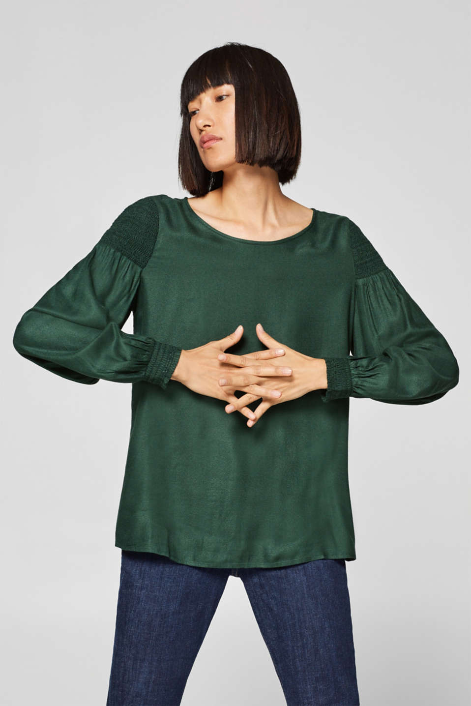 Esprit - Crêpe blouse with smocked effects
