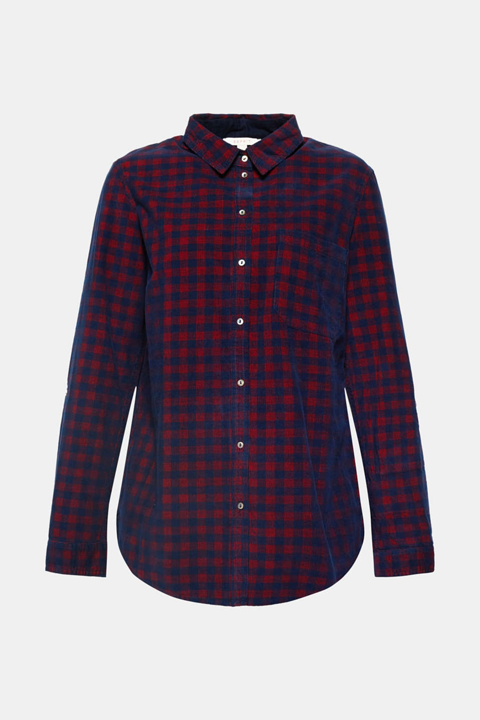 Esprit - Check corduroy shirt, 100% cotton