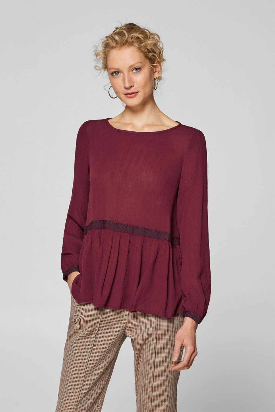 Esprit - Tent blouse in fine crushed fabric