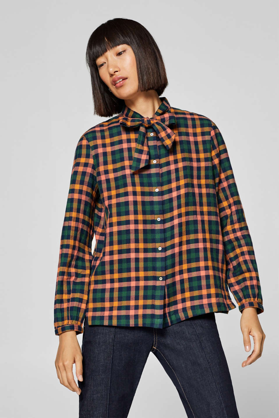 Esprit - Flannel pussycat bow blouse, 100% cotton