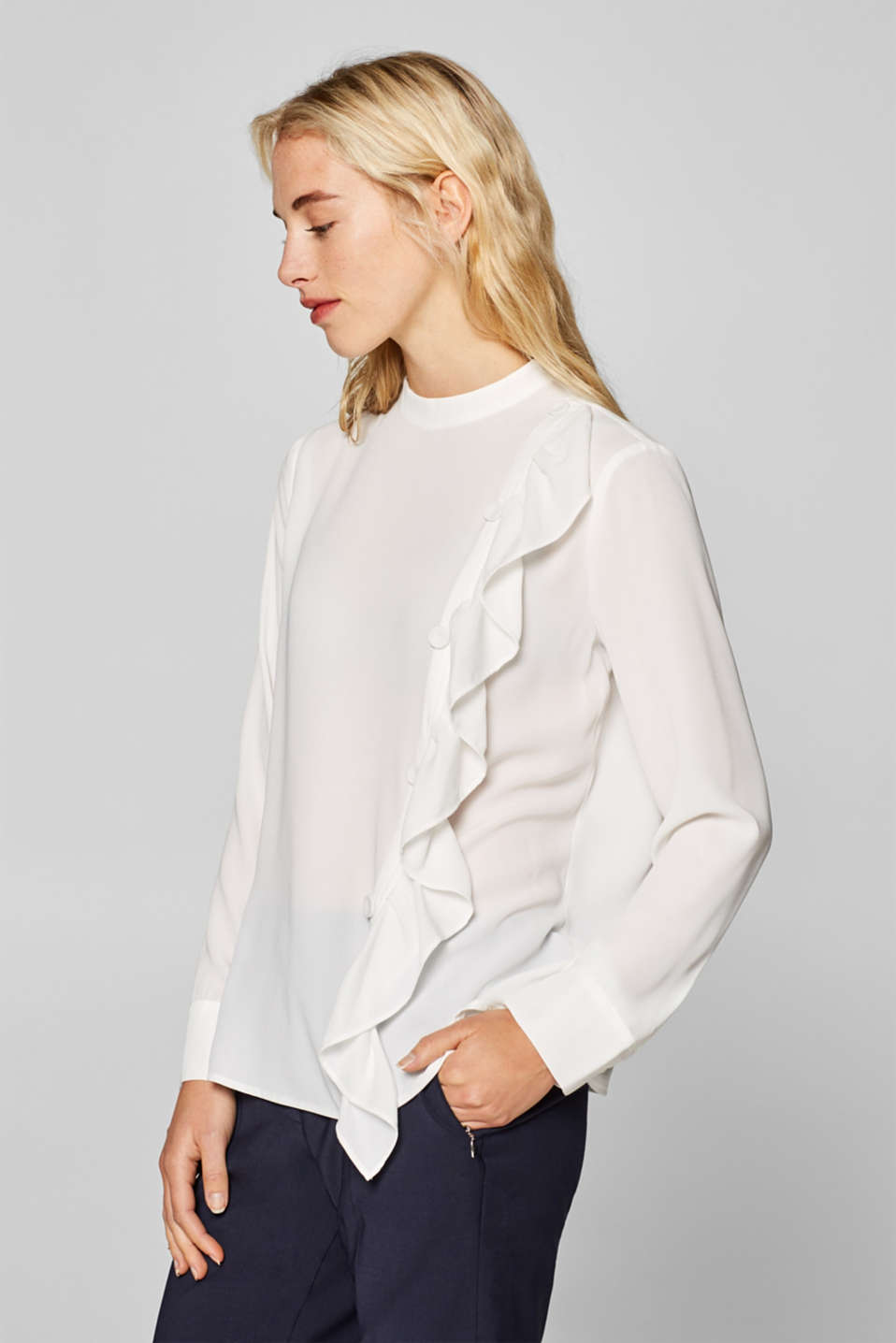 Esprit - Frill detail blouse with a decorative button placket