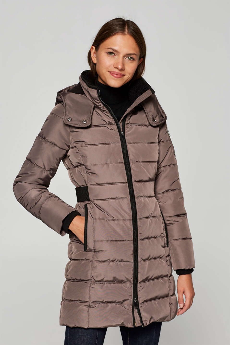 Esprit - Quilted coat with a detachable hood