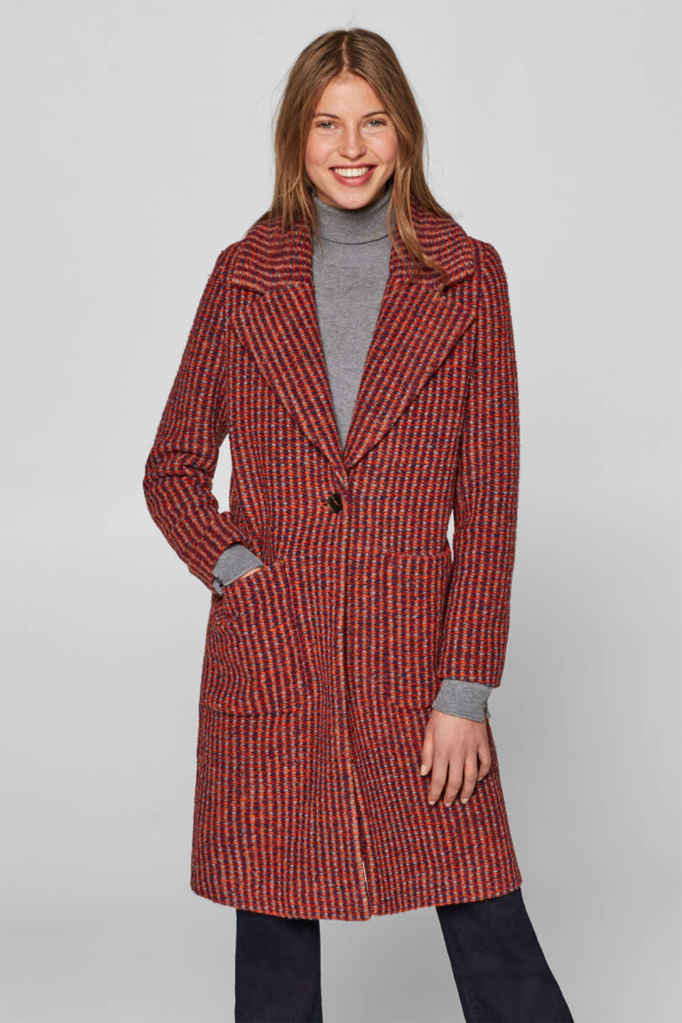 Esprit - Made of blended wool: Textured coat