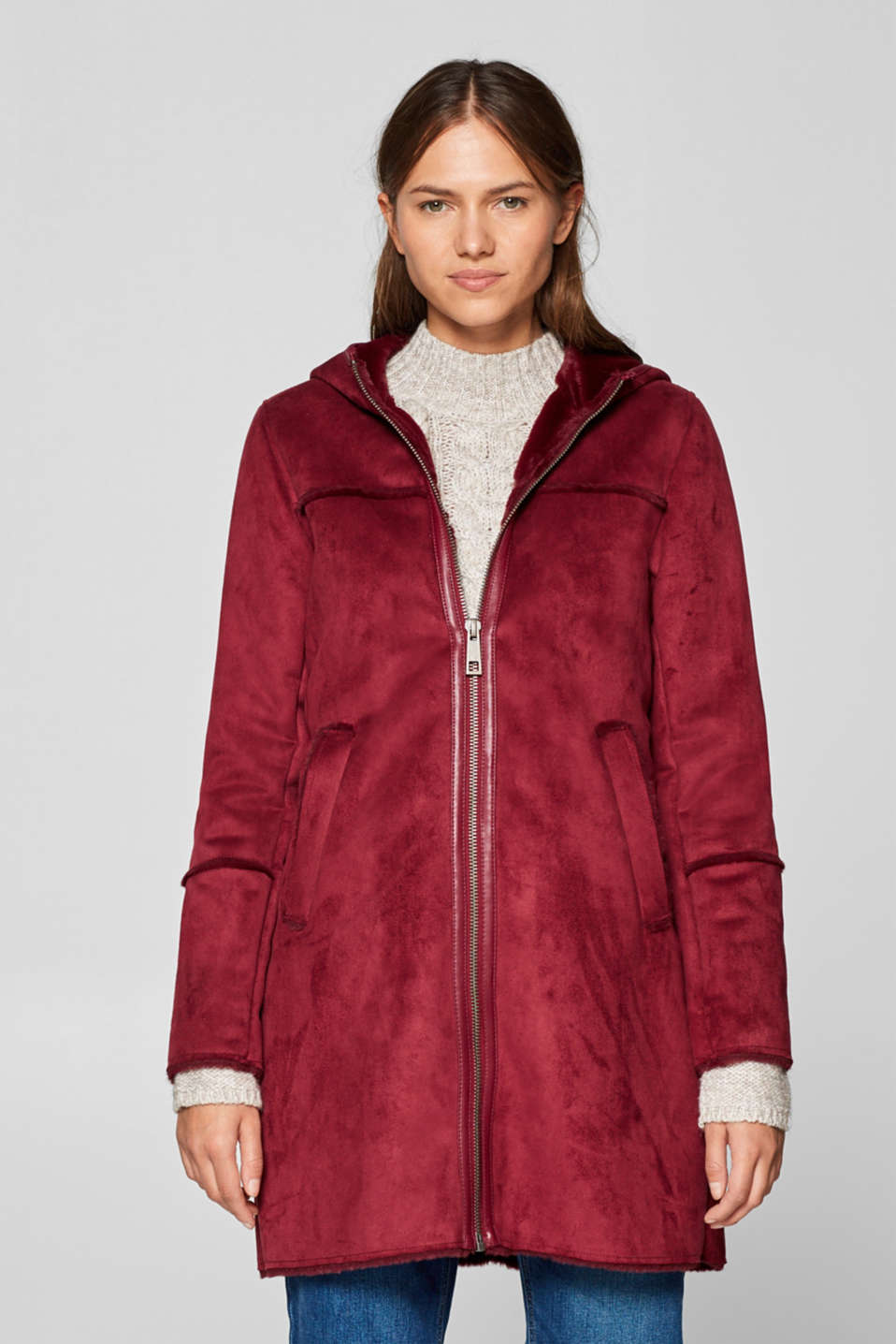Esprit - Hooded coat in faux lambskin