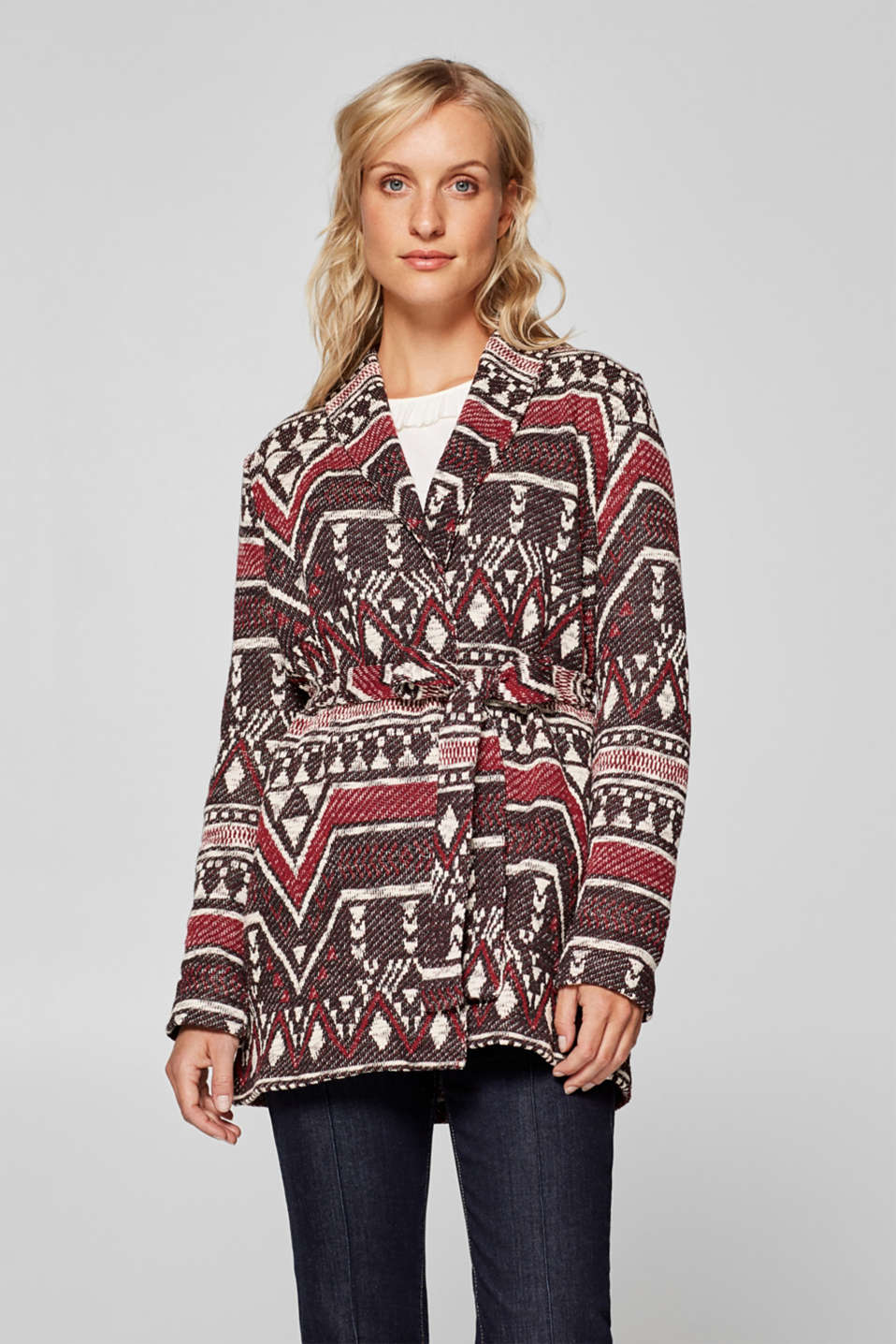 Esprit - Jersey cardigan with a jacquard pattern