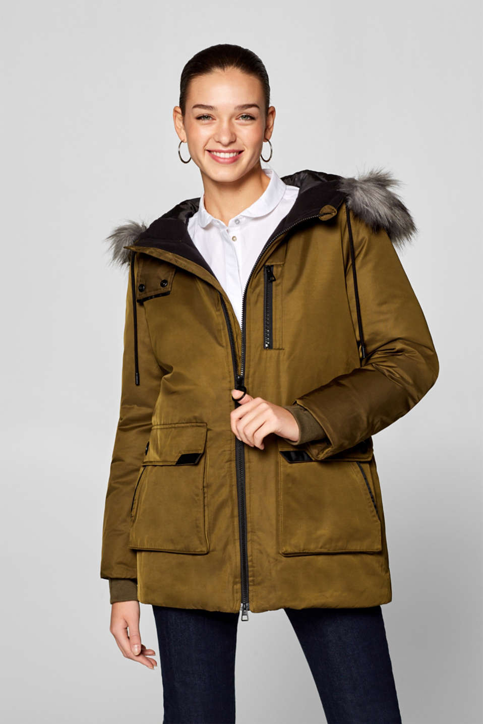 Esprit - Long down parka with adjustable fake fur