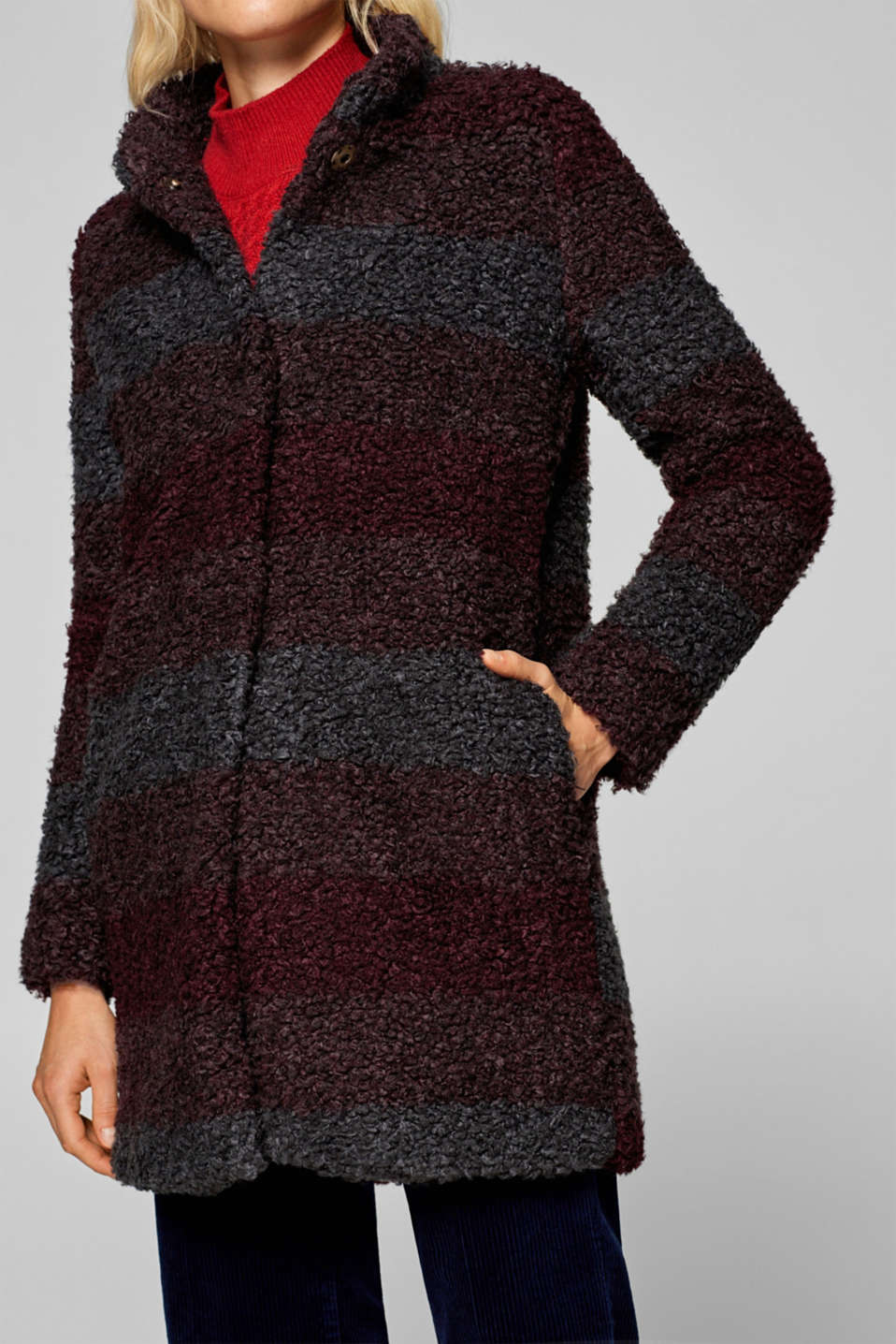 Esprit - Teddy fur coat in a striped look