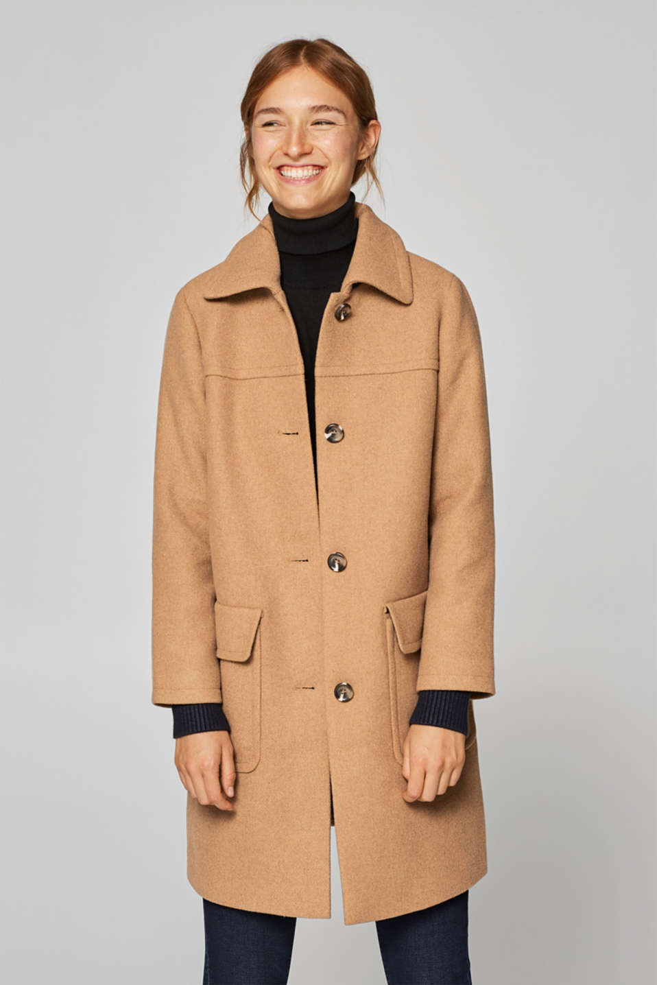 Esprit - Wool blend: coat with sleeve cuffs