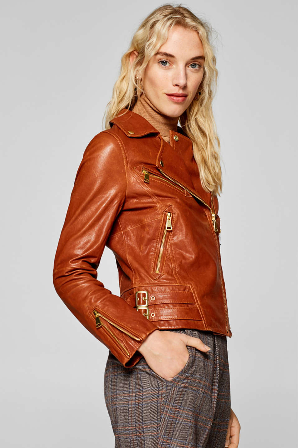 Esprit - Biker jacket in high-quality leather