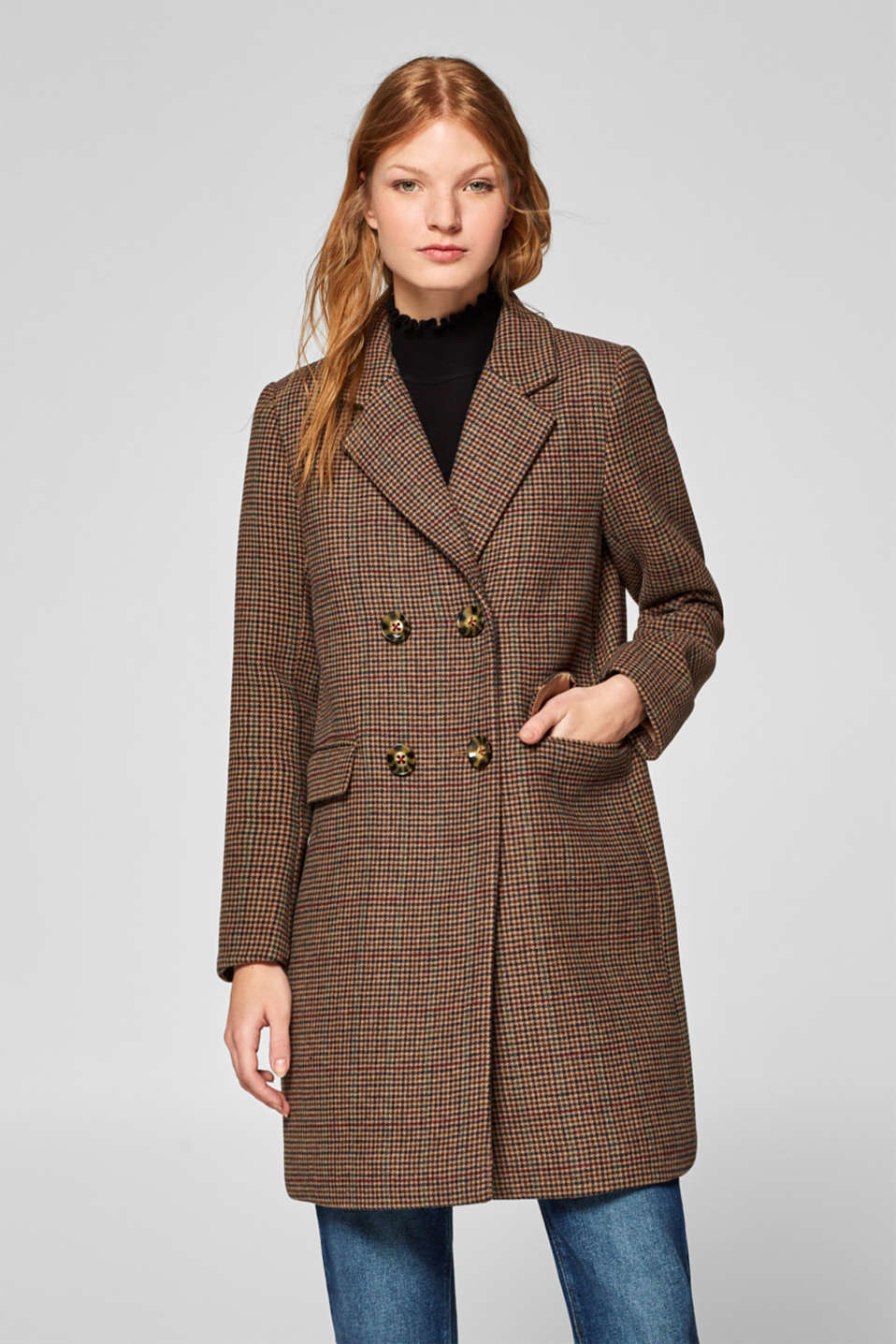 Esprit - Wool blend coat with mini houndstooth pattern