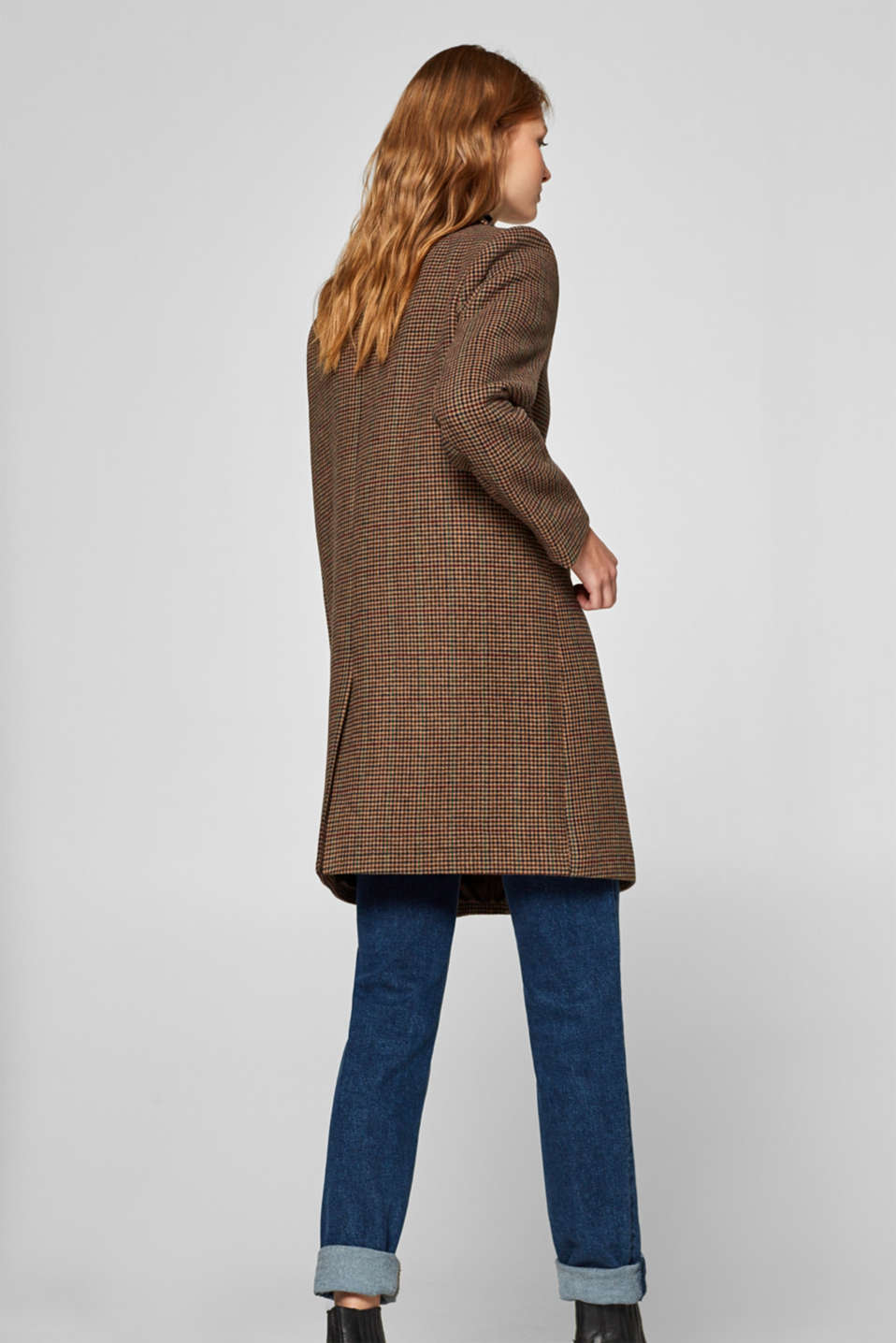 Wool blend coat with mini houndstooth pattern, BROWN, detail image number 3