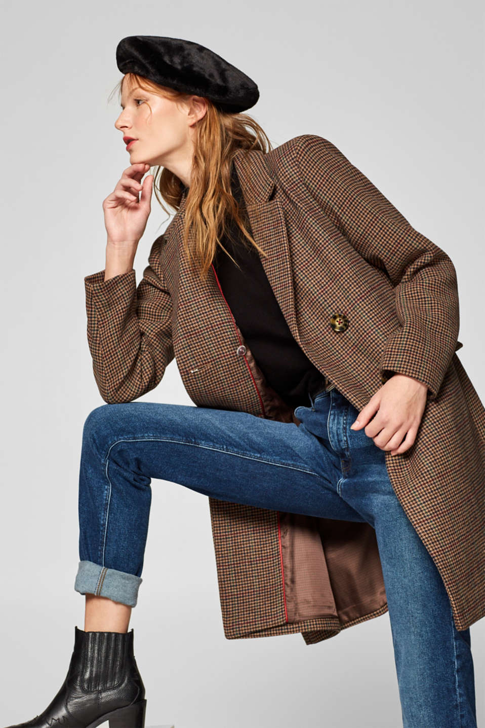 Wool blend coat with mini houndstooth pattern, BROWN, detail image number 5