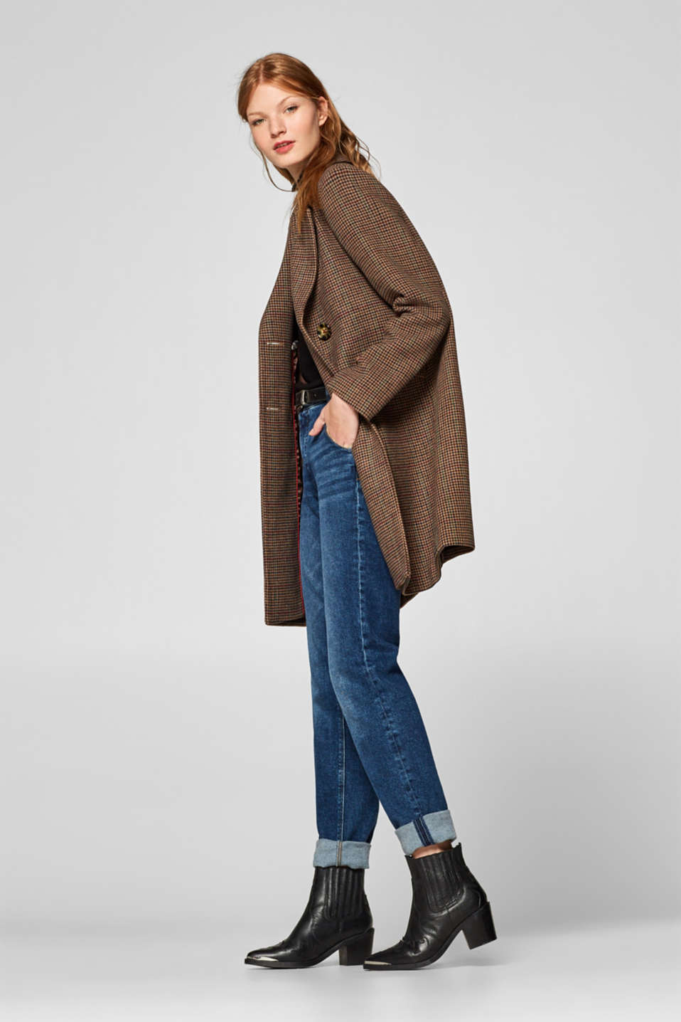 Wool blend coat with mini houndstooth pattern, BROWN, detail image number 1