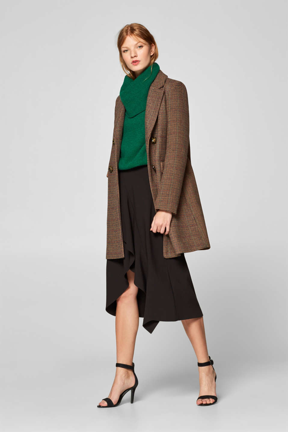 Wool blend coat with mini houndstooth pattern, BROWN, detail image number 7