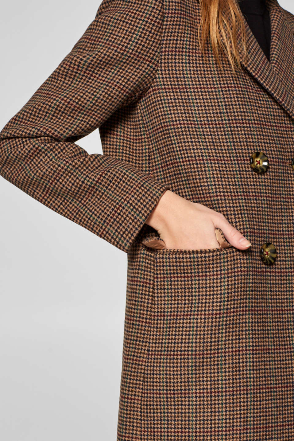 Wool blend coat with mini houndstooth pattern, BROWN, detail image number 2