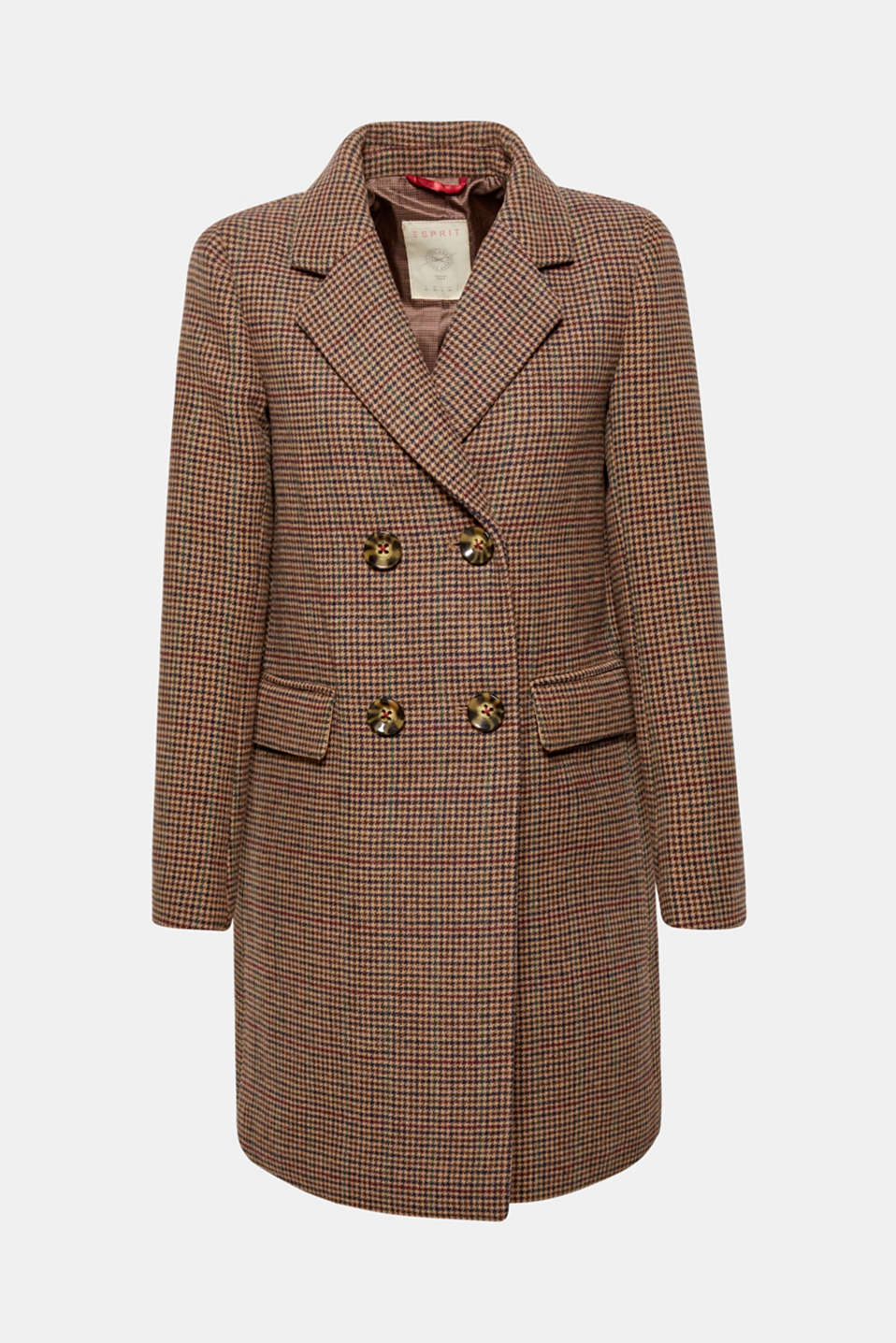 Wool blend coat with mini houndstooth pattern, BROWN, detail image number 8